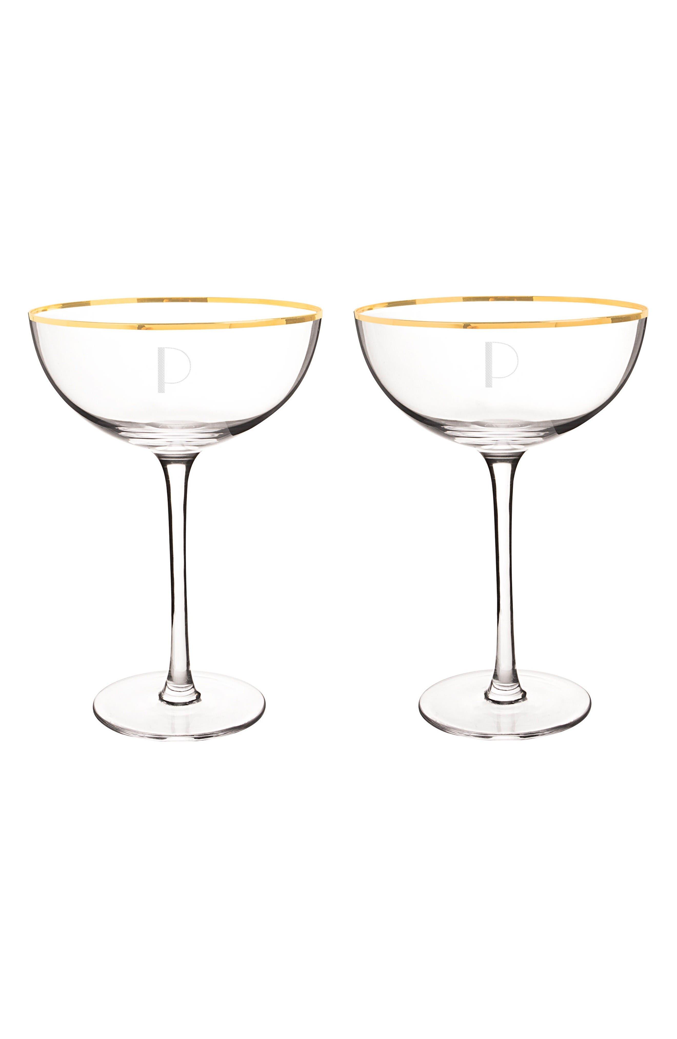 Cathy's Concepts Set of 2 Gold Rim Monogram Champagne Flutes