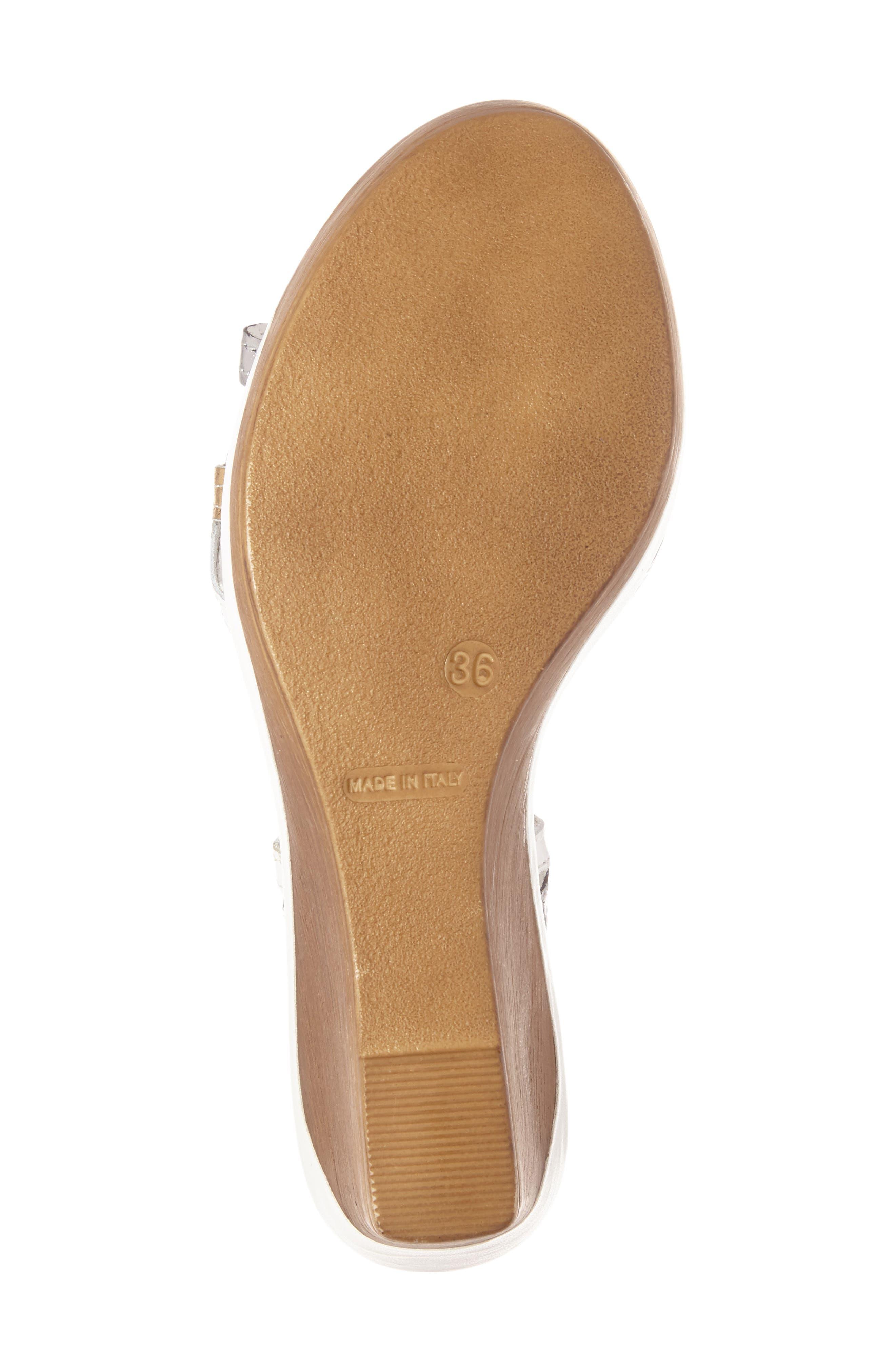 Alto Wedge Sandal,                             Alternate thumbnail 4, color,                             White Leather