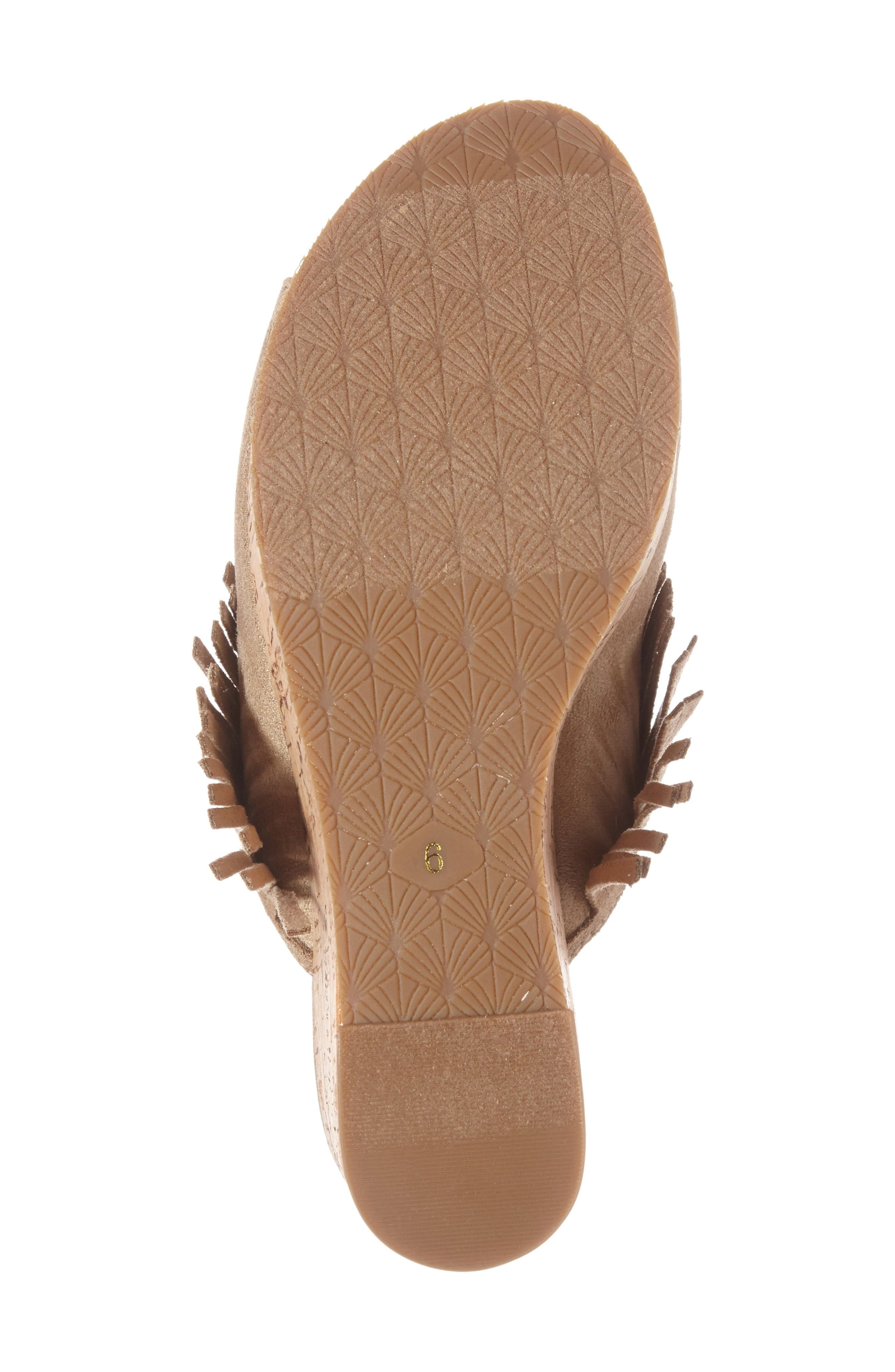 Unbridled Leigh Fringe Mule,                             Alternate thumbnail 4, color,                             Sand Fabric