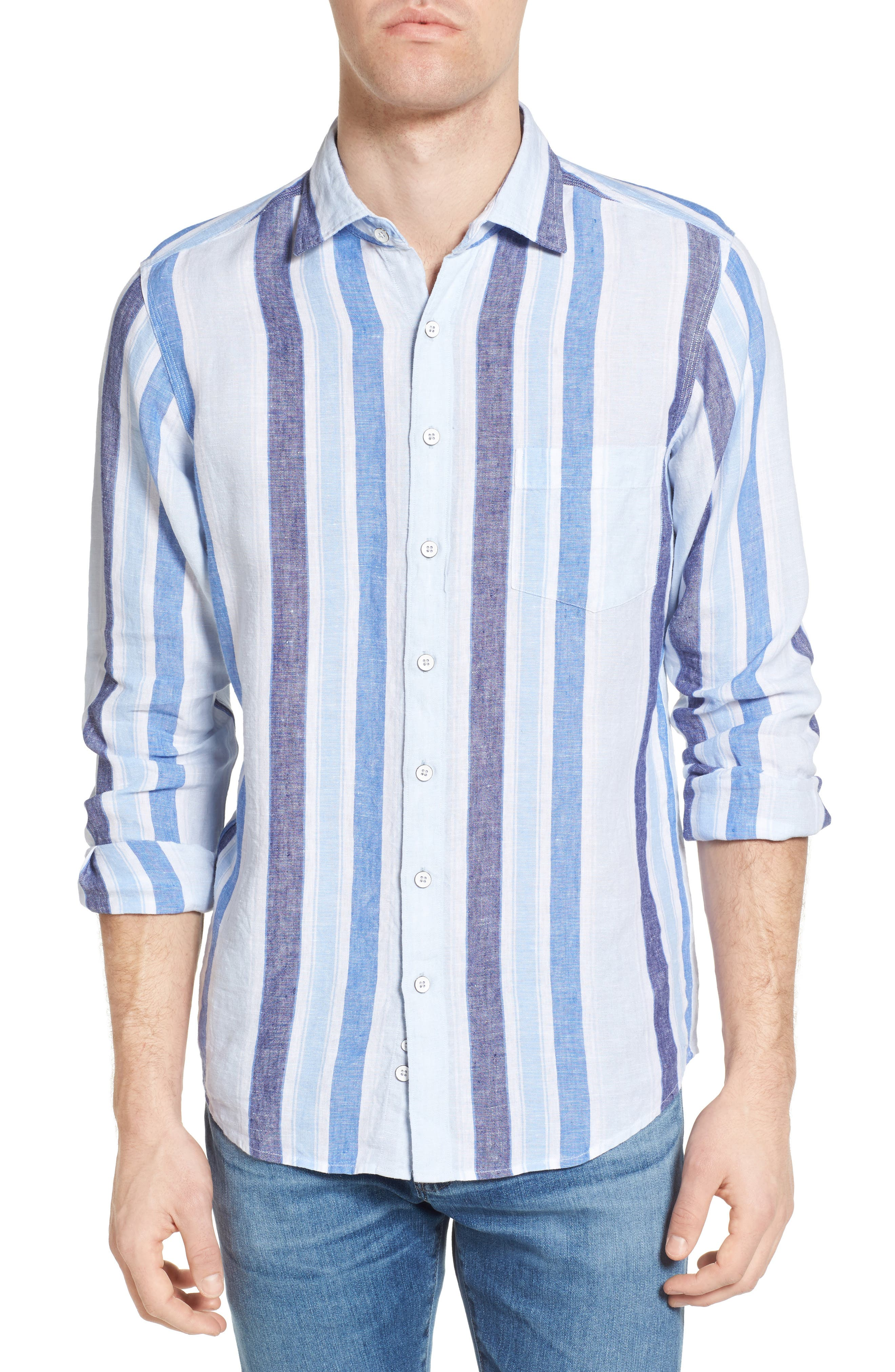 Glenavy Stripe Linen Sport Shirt,                         Main,                         color, Marine
