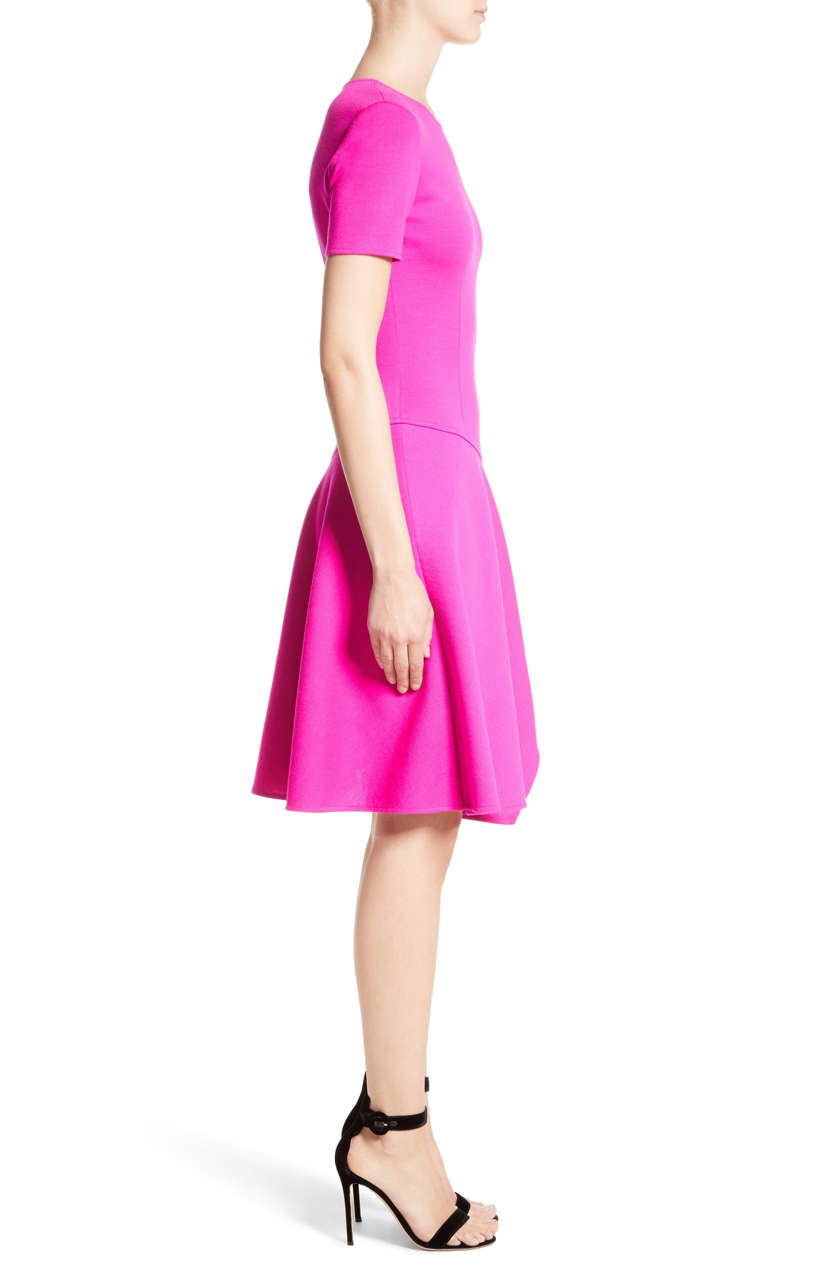 Milano Knit Asymmetrical Dress,                             Alternate thumbnail 3, color,                             Zinnia