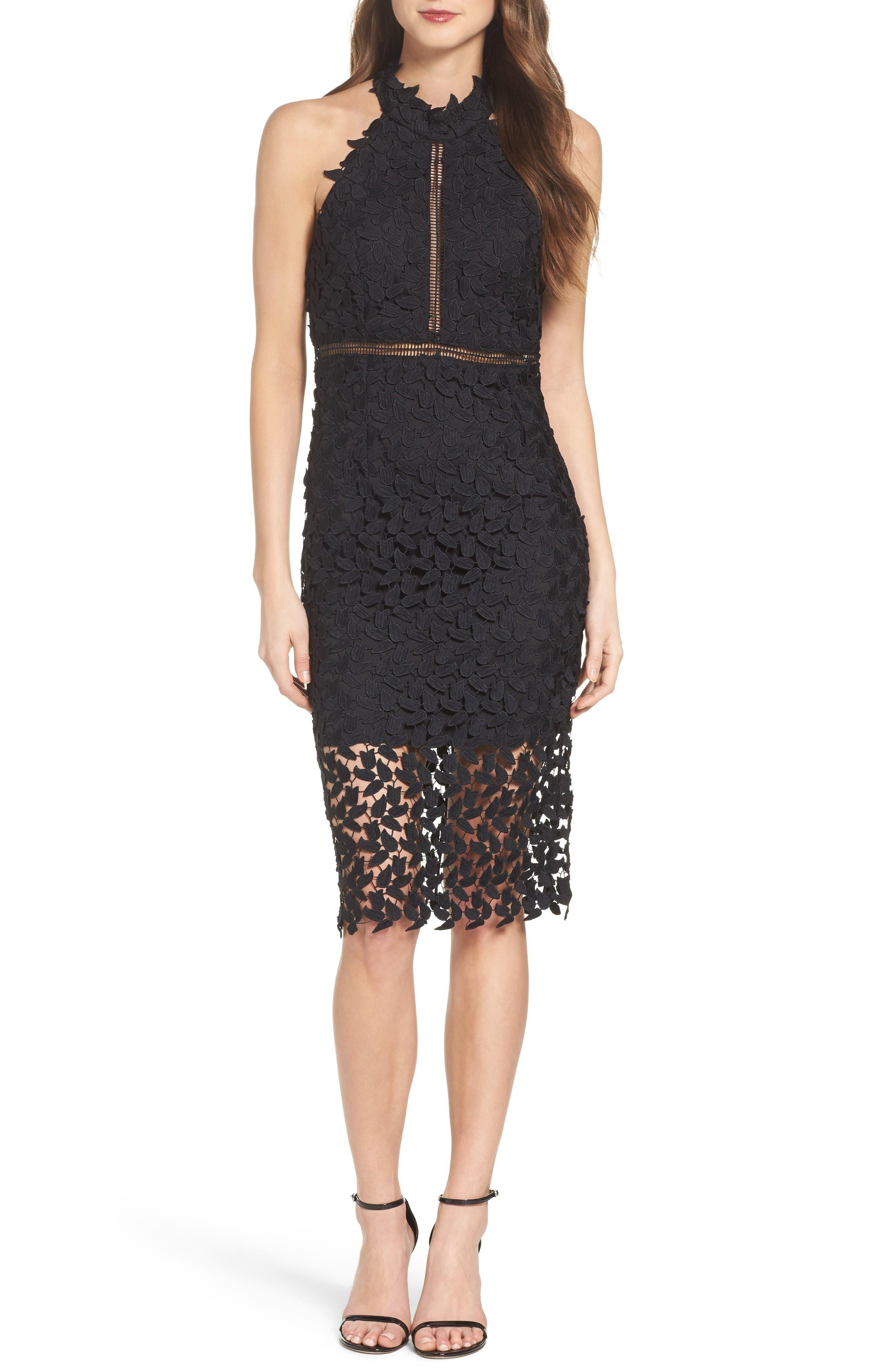 Alternate Image 1 Selected - Bardot Gemma Halter Lace Sheath Dress