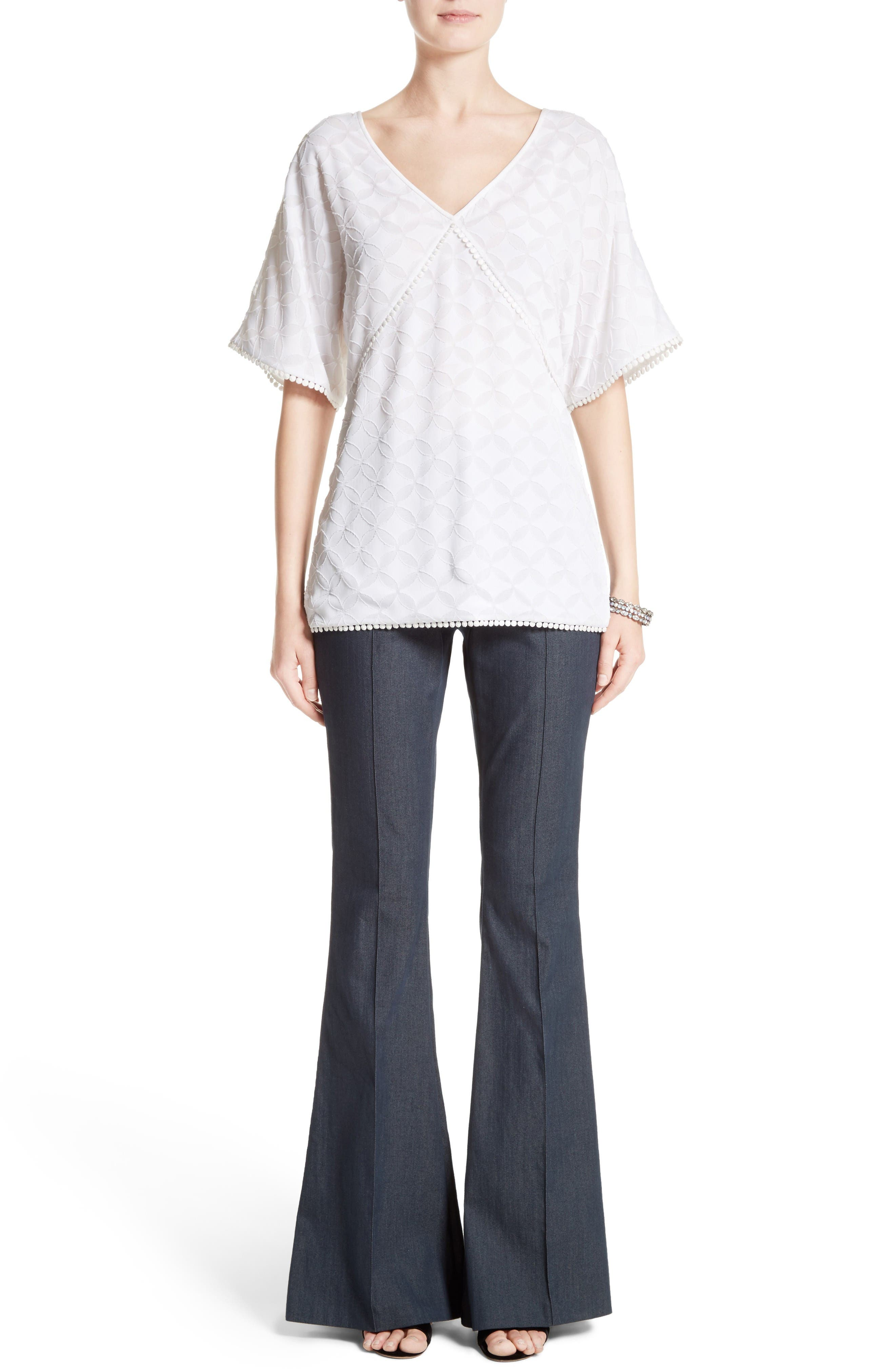 Alternate Image 10  - St. John Collection Stretch Denim Flare Pants