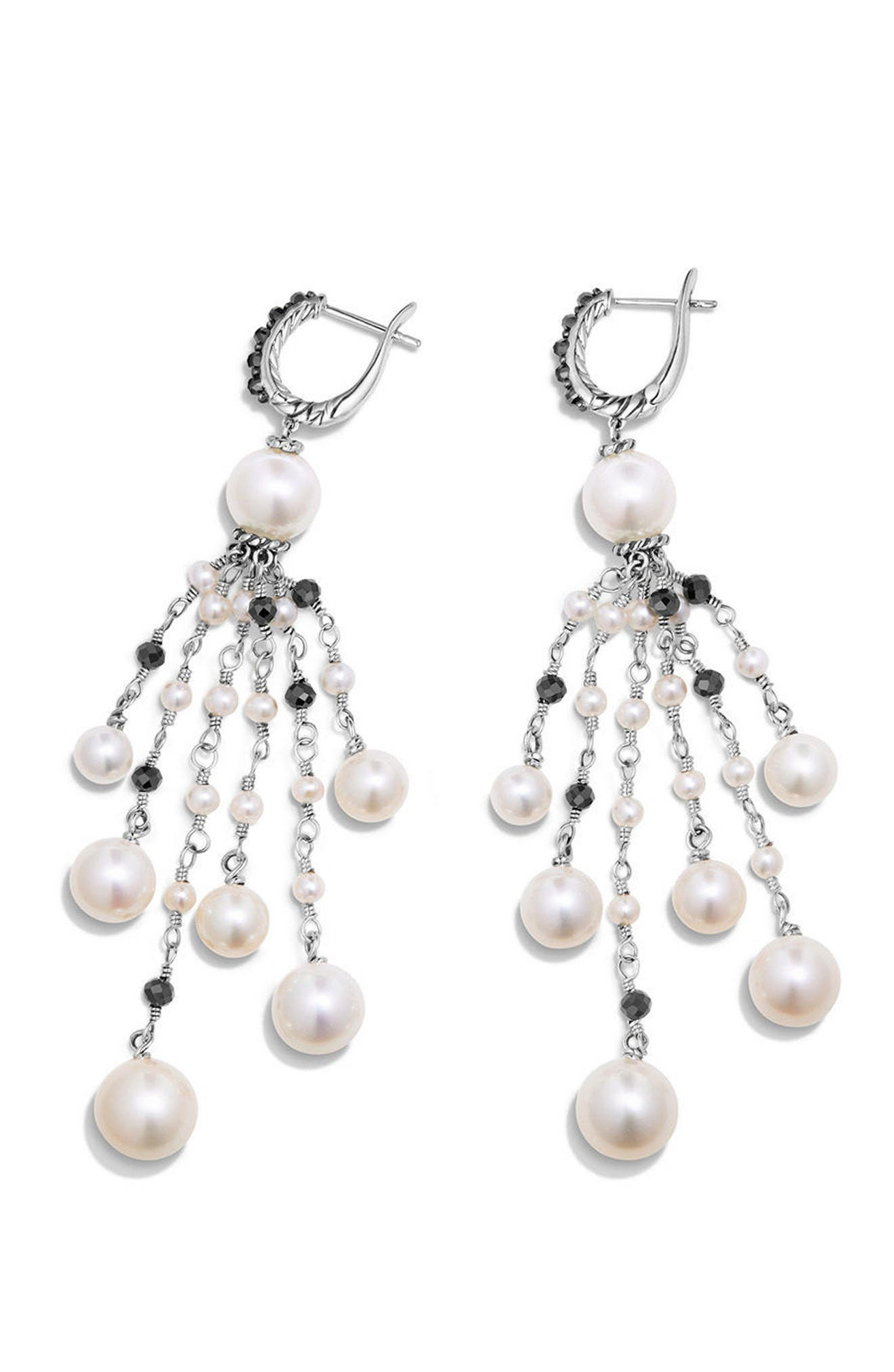 Solari Pearl Fringe Earrings,                             Alternate thumbnail 2, color,                             Pearl/ Black Spinel