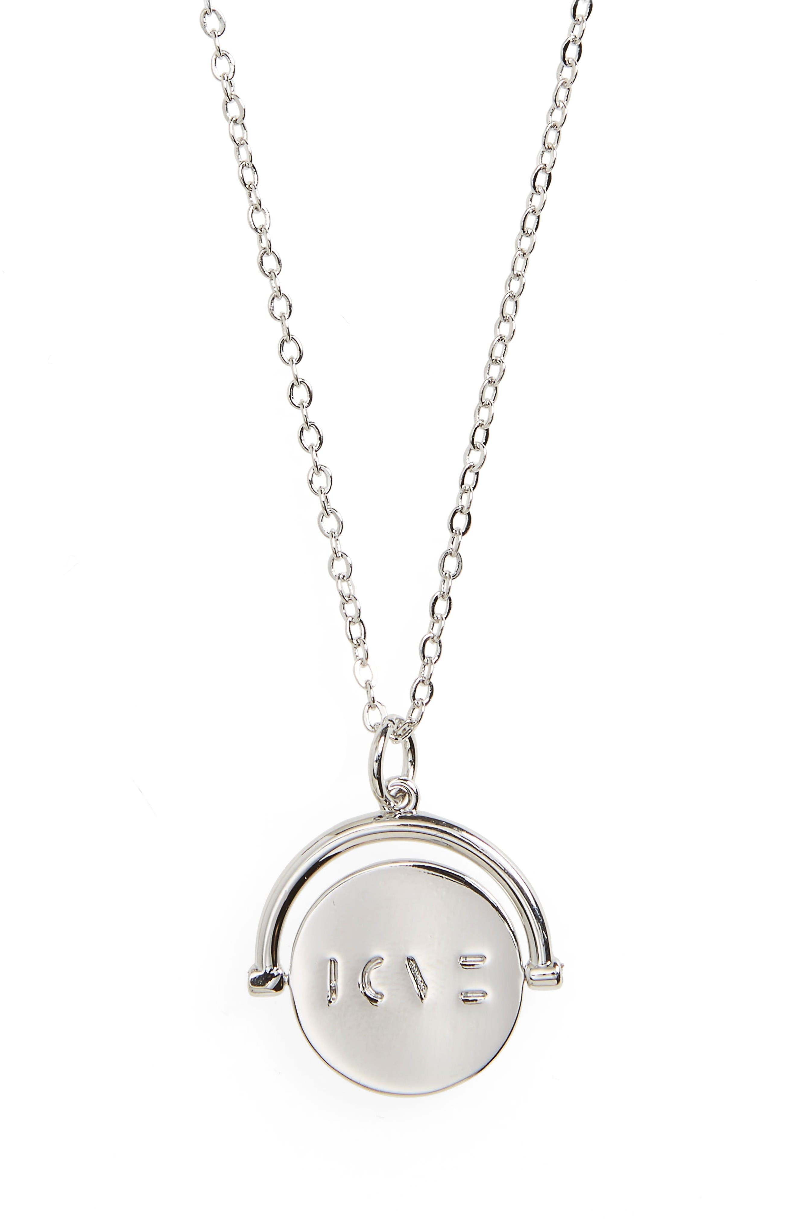 Love Love Code Charm Necklace,                             Main thumbnail 1, color,                             Love/ Silver