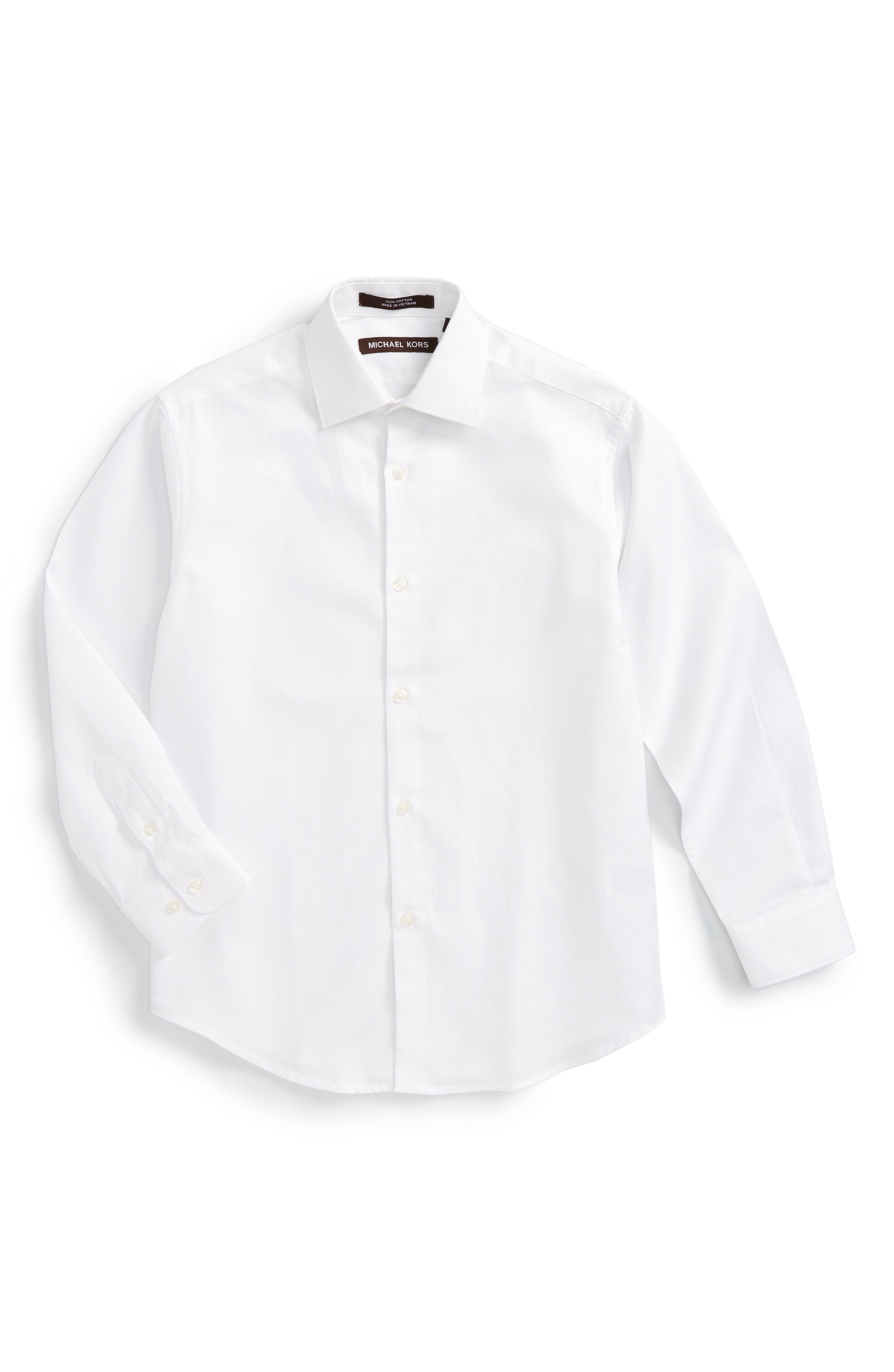 Solid Dress Shirt,                         Main,                         color, White