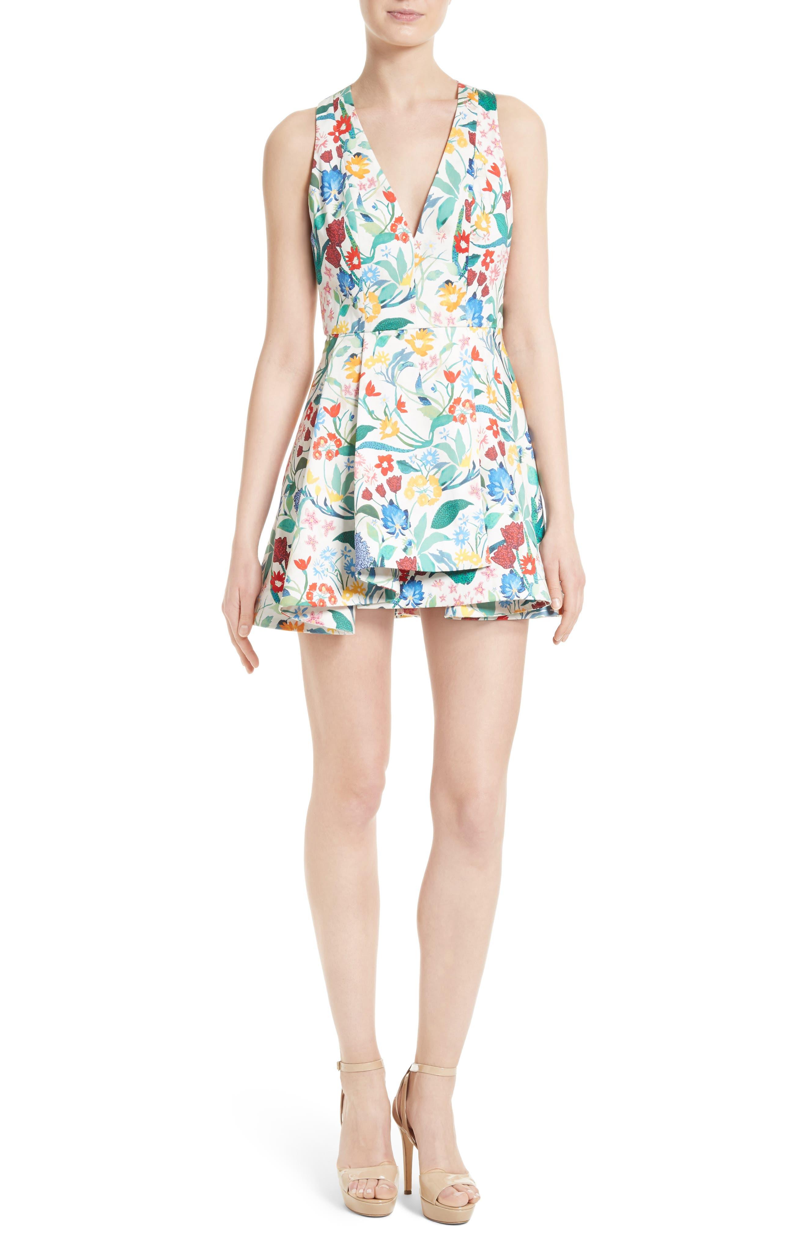 Tanner Floral Asymmetrical Dress,                         Main,                         color, Chelsea Wildflower-Cream