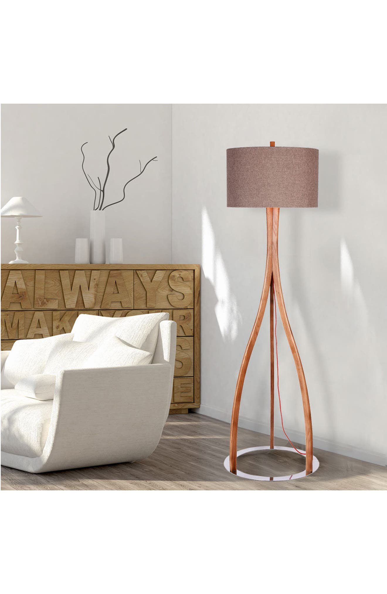 JAlexander Parker Wood Floor Lamp,                             Alternate thumbnail 2, color,                             Brown