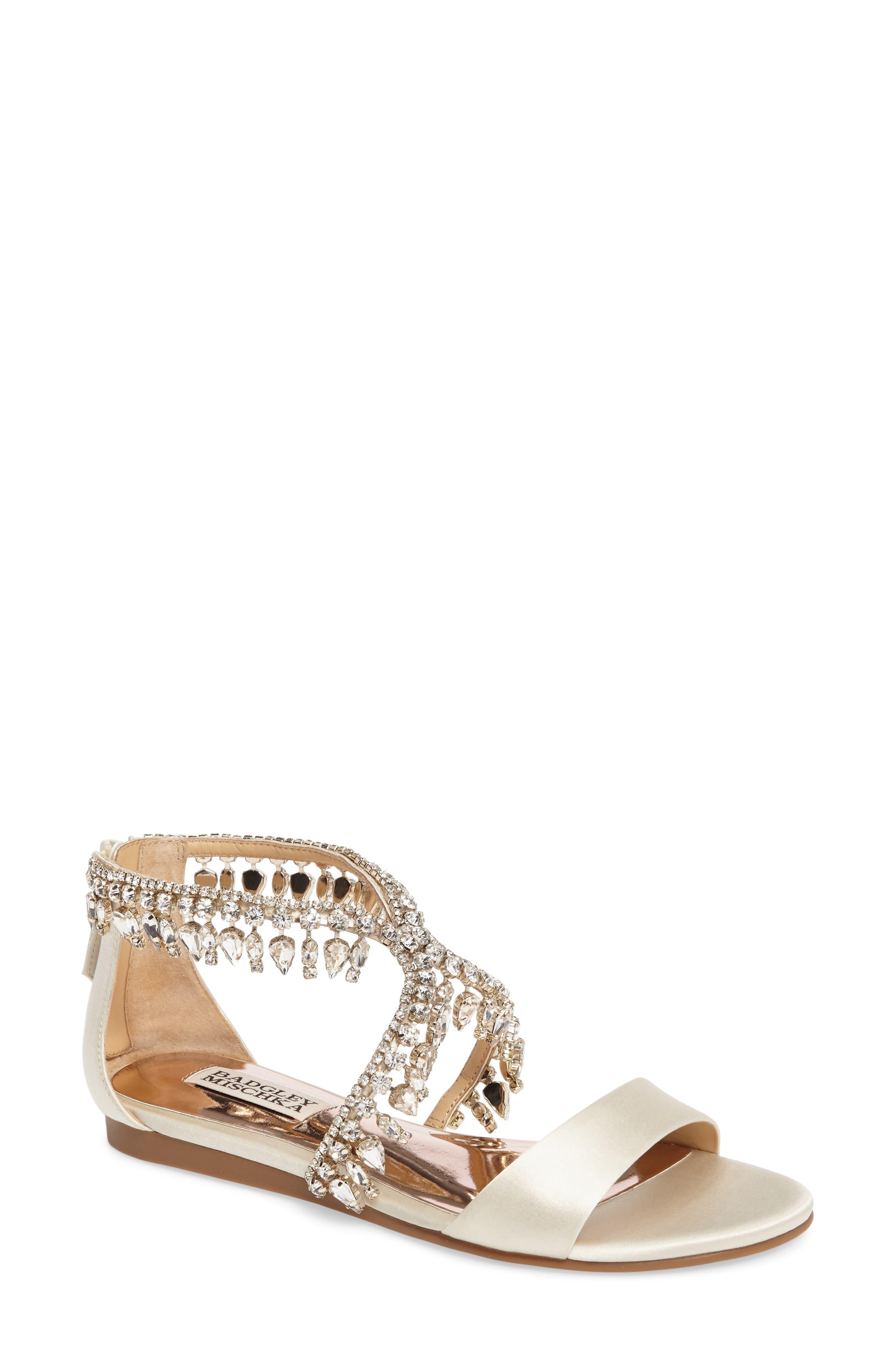 Tristen Crystal Sandal,                         Main,                         color, Ivory Satin