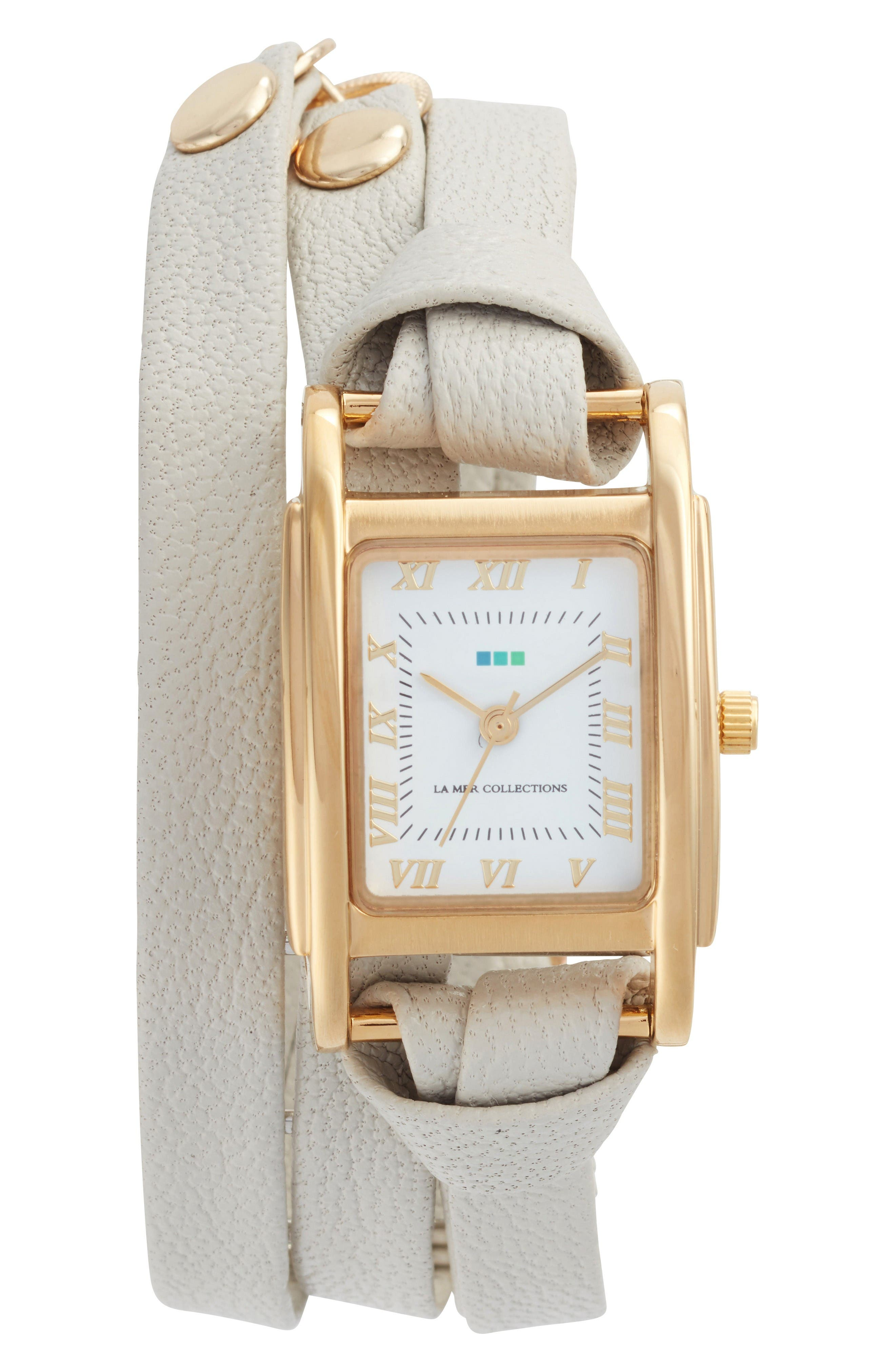 'Milwood' Leather Wrap Watch, 35mm,                             Main thumbnail 1, color,                             Stone/ White/ Gold