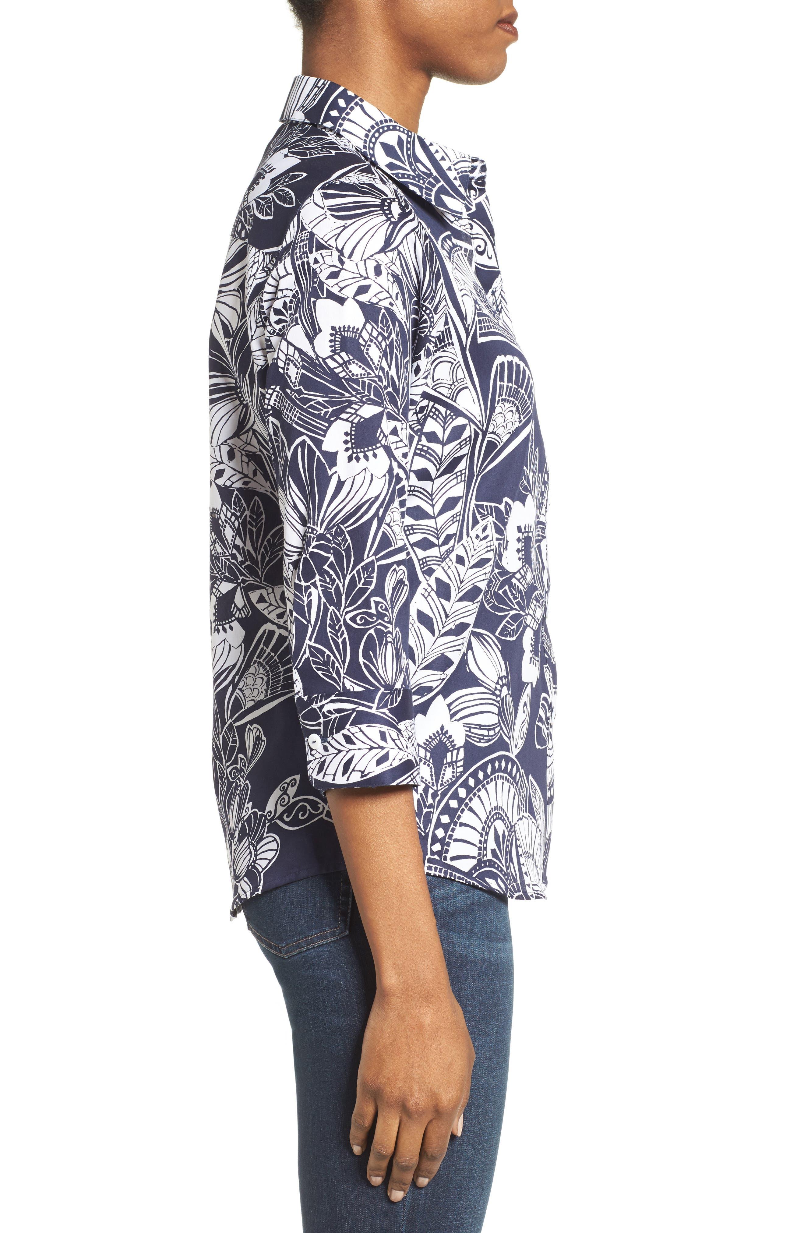 Alternate Image 3  - Foxcroft Floral Print Shirt (Regular & Petite)