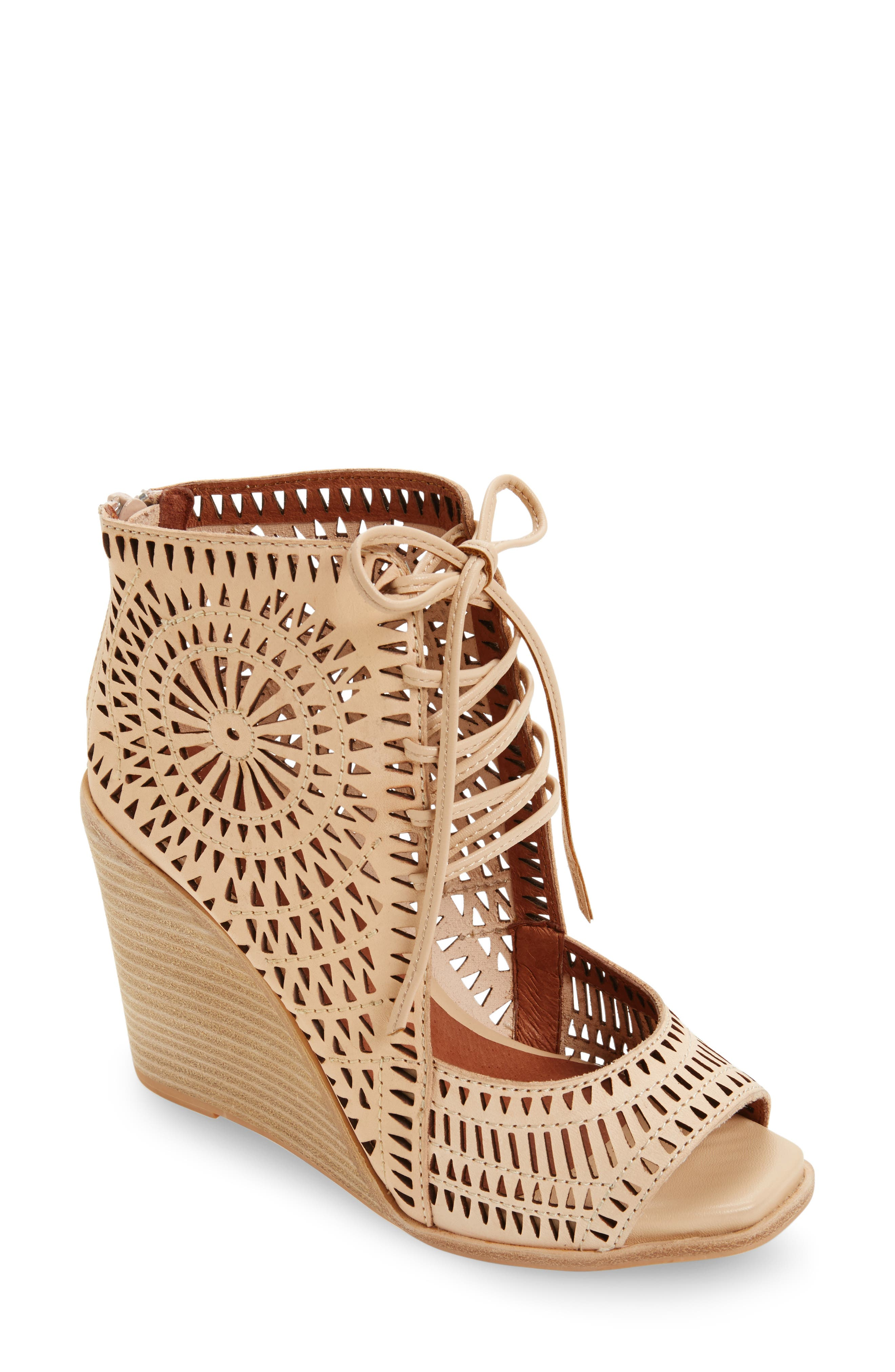 Alternate Image 1 Selected - Jeffrey Campbell Rayos Perforated Wedge Sandal (Women)