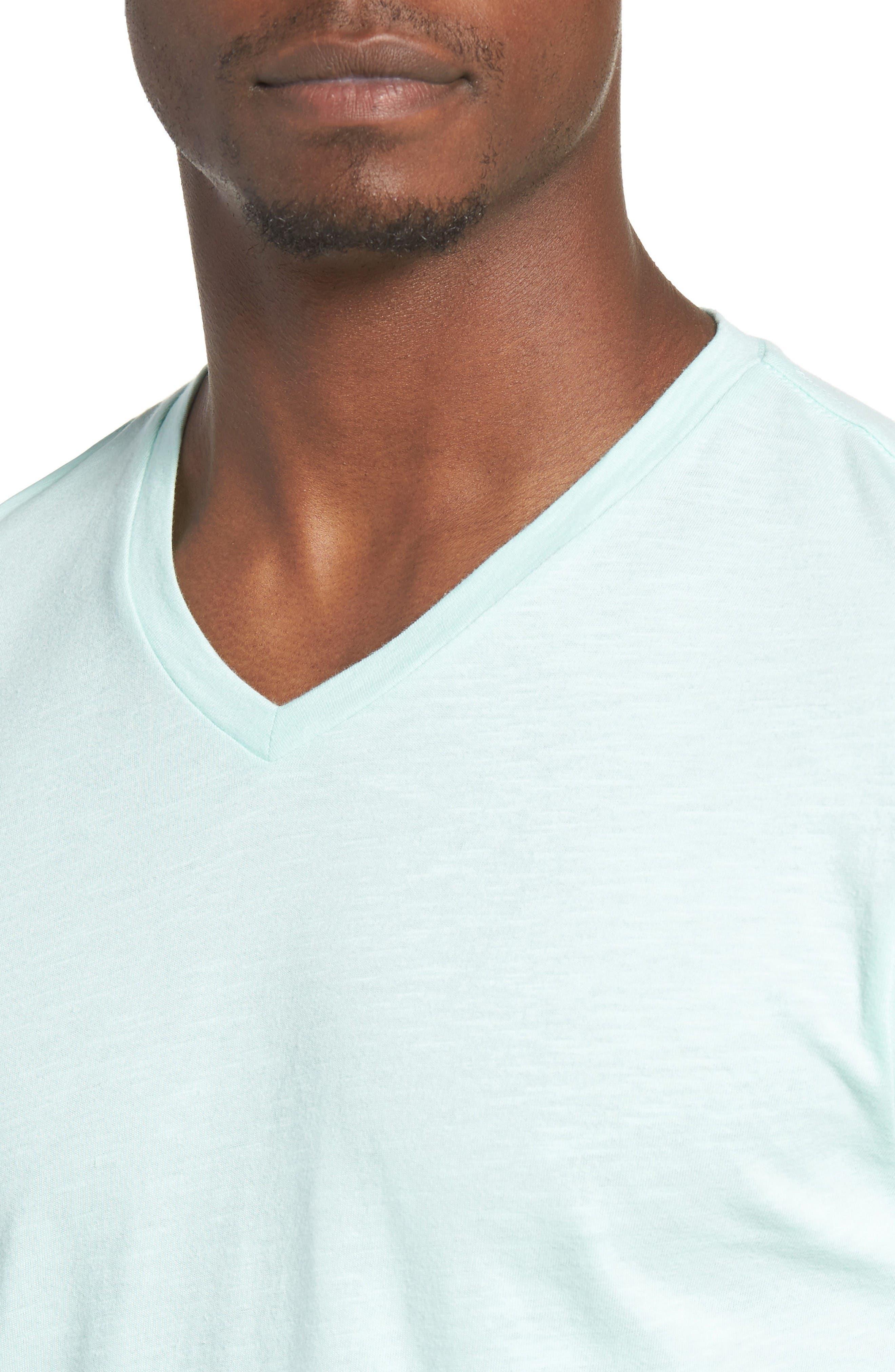Slub Cotton V-Neck T-Shirt,                             Alternate thumbnail 4, color,                             Olive Grove