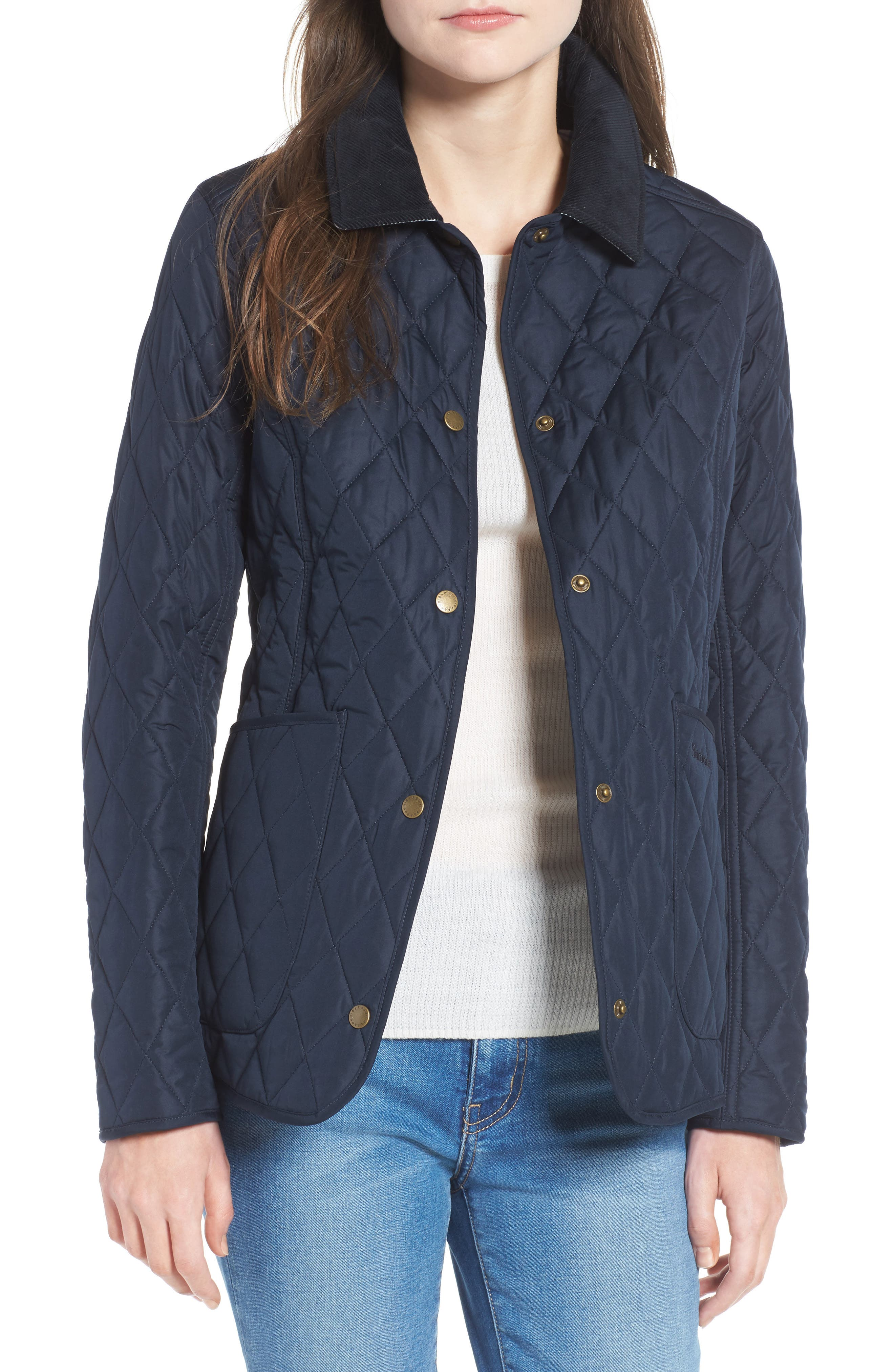 Spring Annandale Quilted Jacket,                             Main thumbnail 1, color,                             Navy/ Summer Tartan