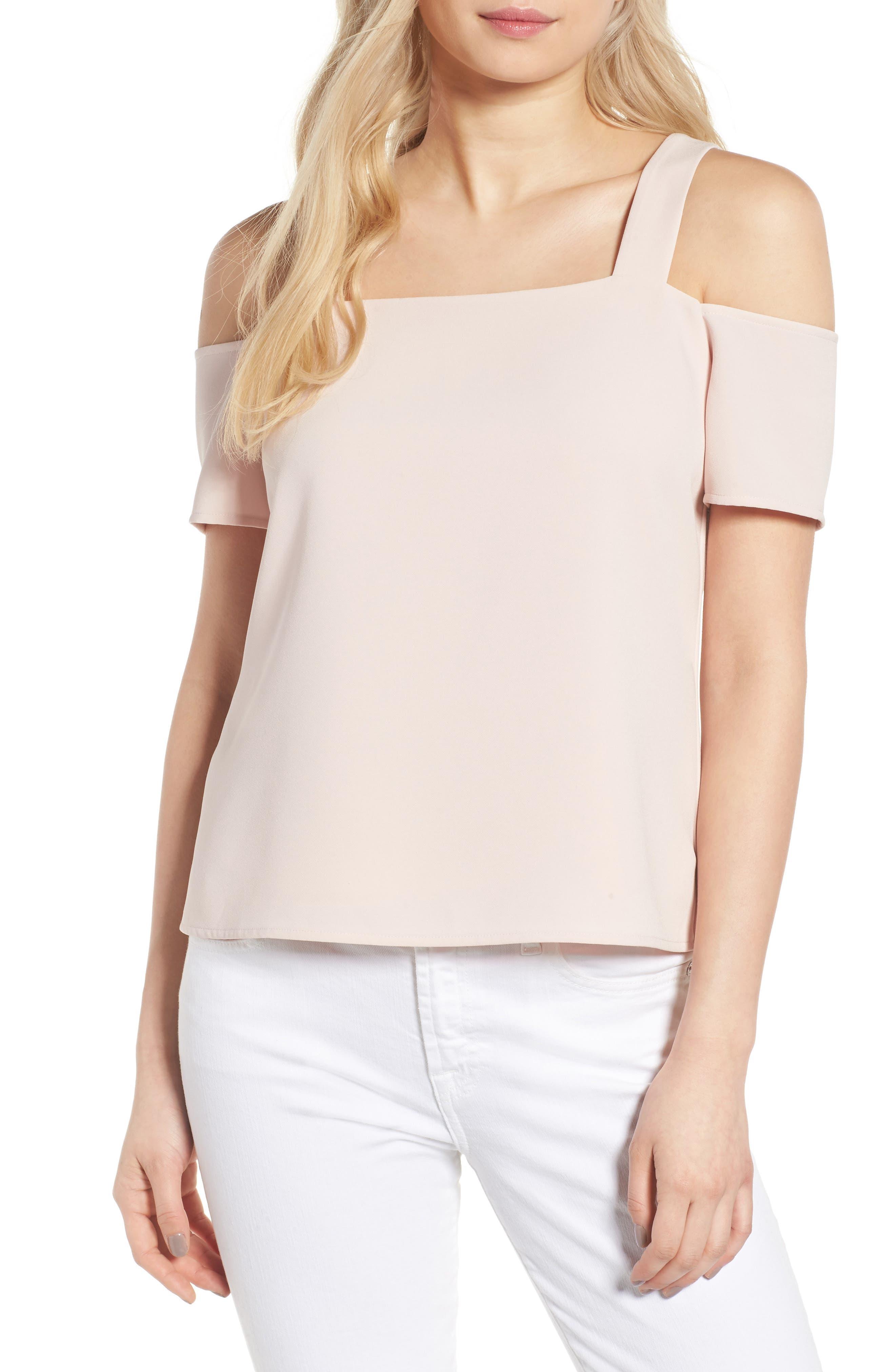 Ava Cold Shoulder Top,                         Main,                         color, Pale Pink