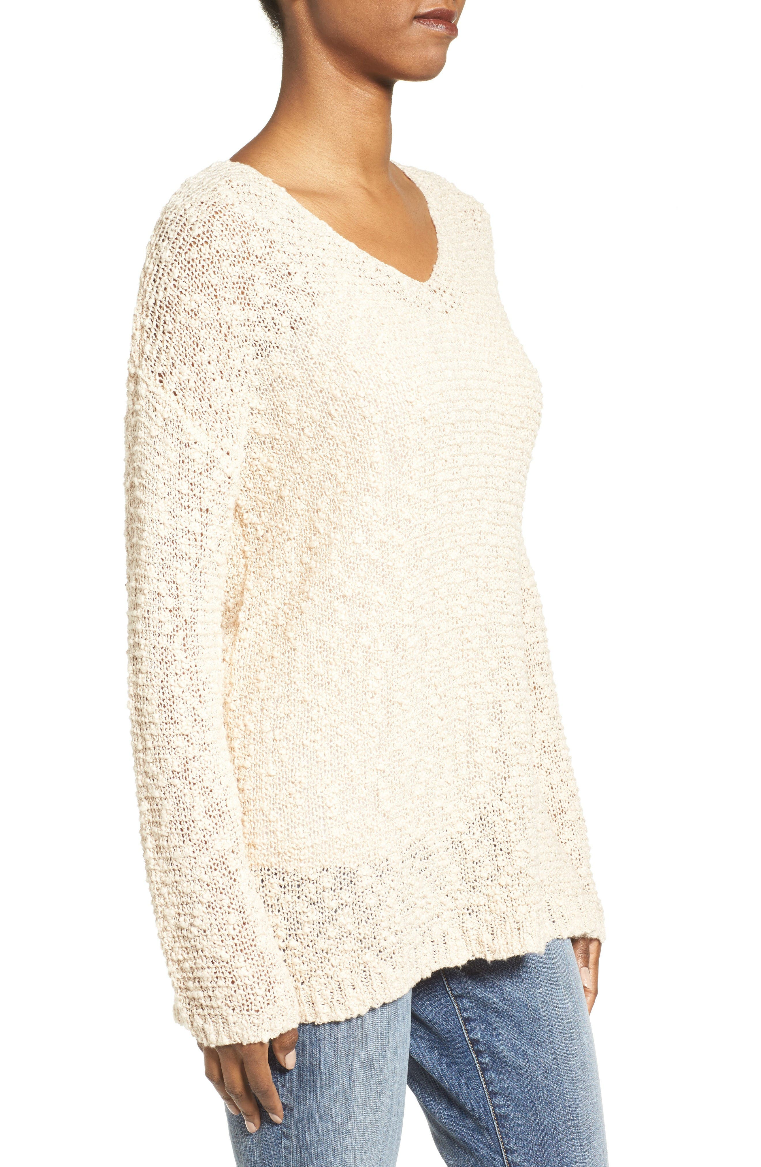 Open Stitch V-Neck Sweater,                             Alternate thumbnail 3, color,                             Beige Beach