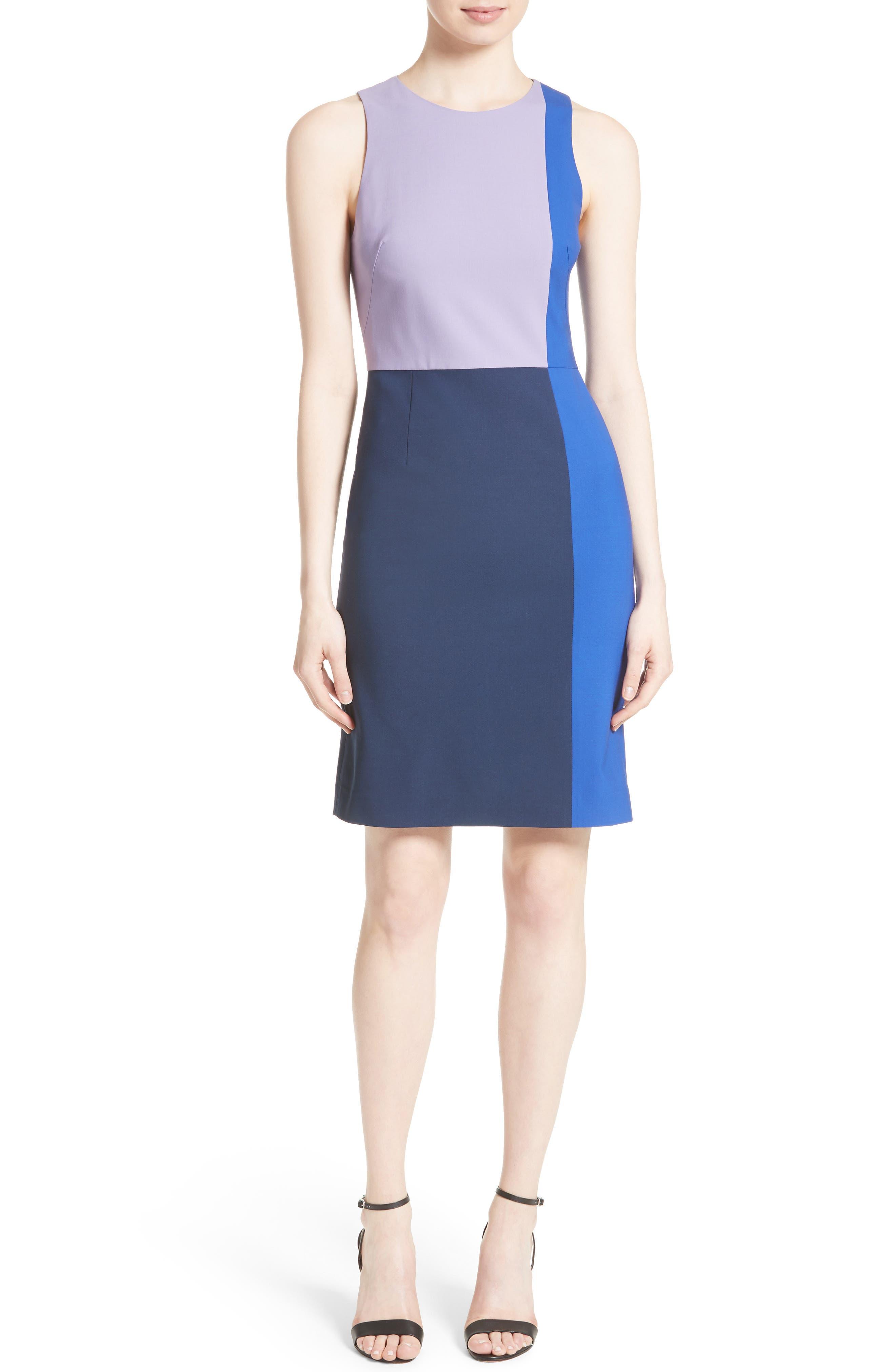 Diane von Furstenberg Paneled Stretch Wool Sheath Dress