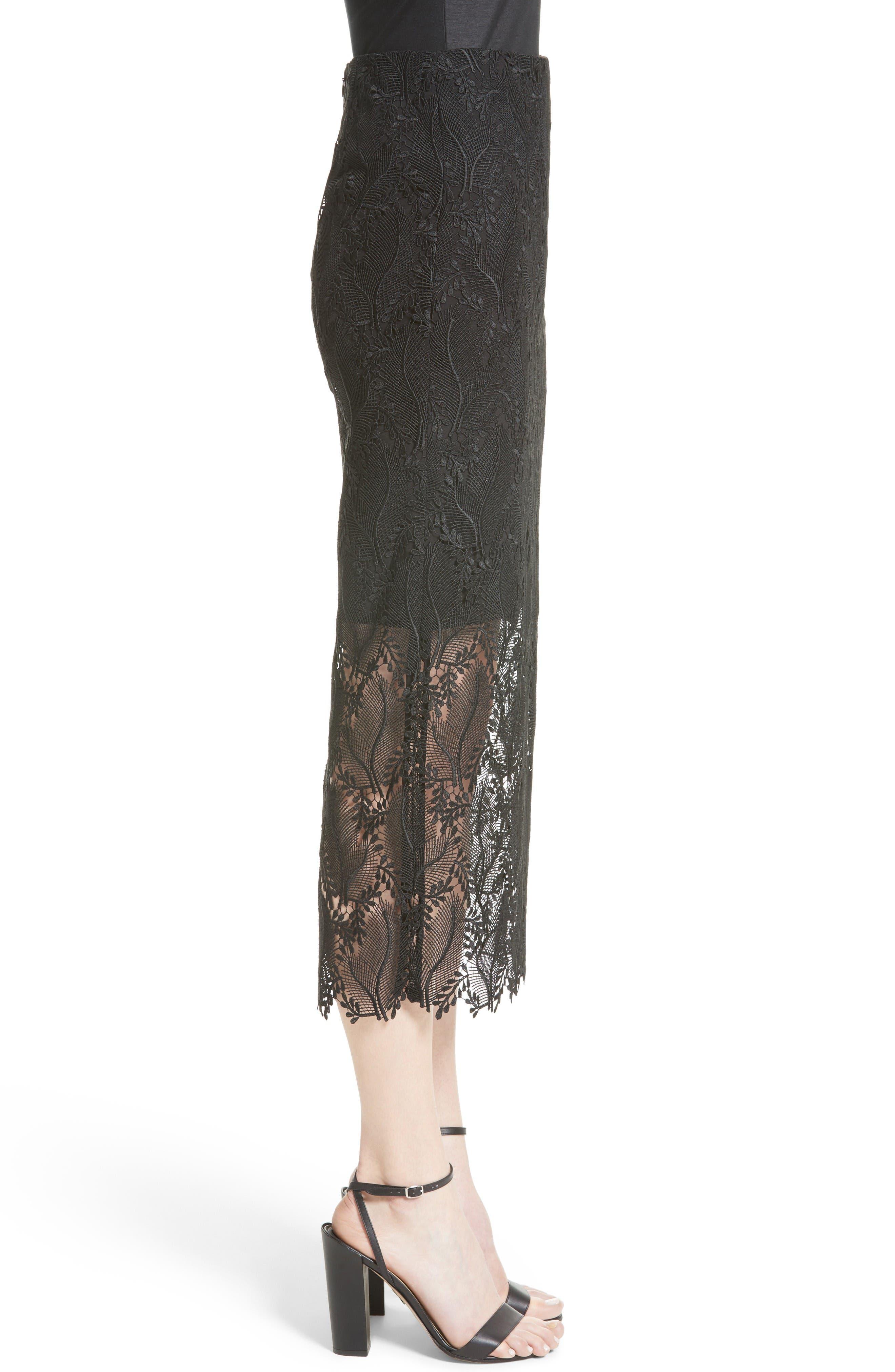 Lace Overlay Pencil Skirt,                             Alternate thumbnail 4, color,                             Black