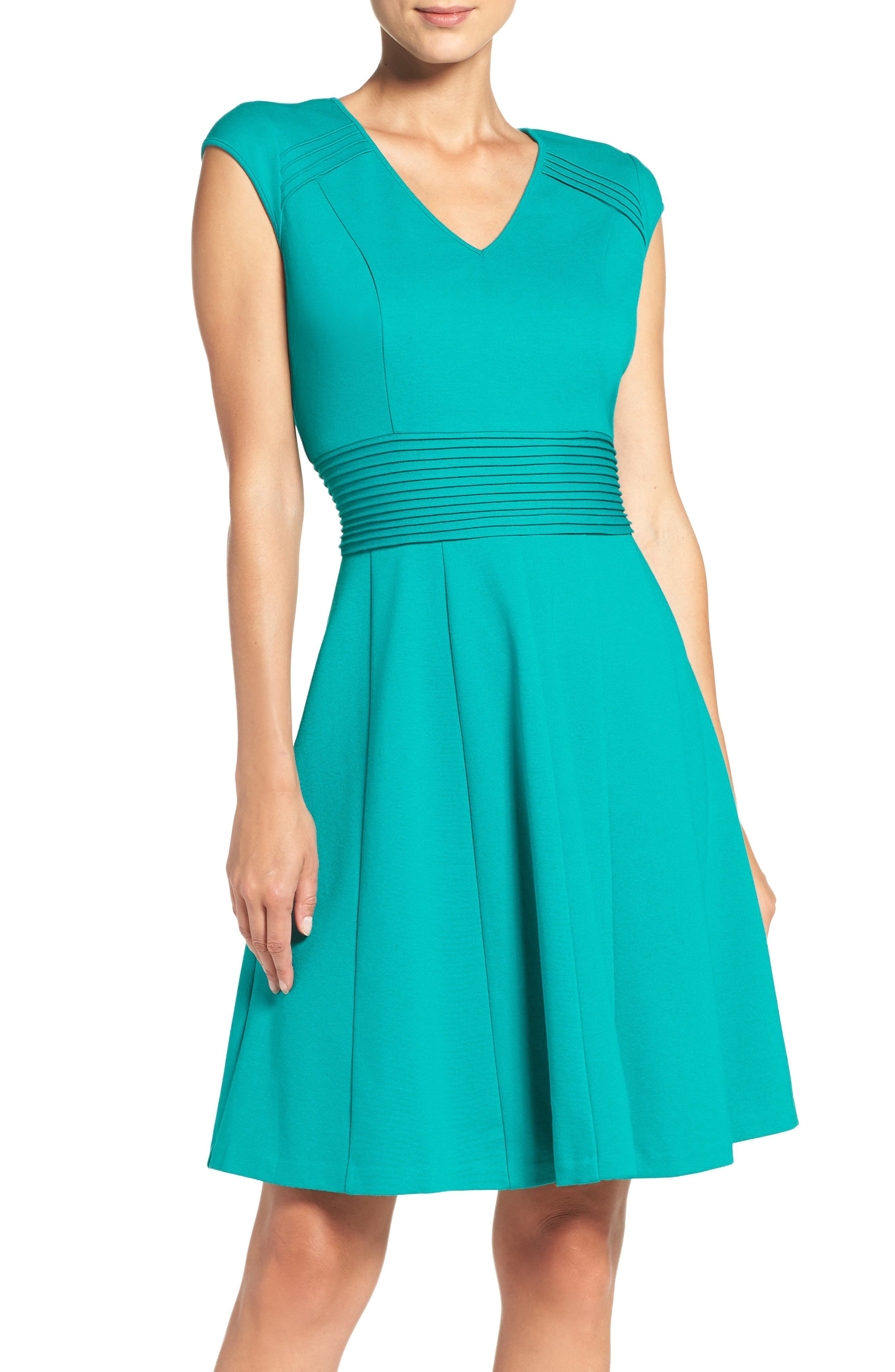 Ponte Fit & Flare Dress,                             Main thumbnail 1, color,                             Teal