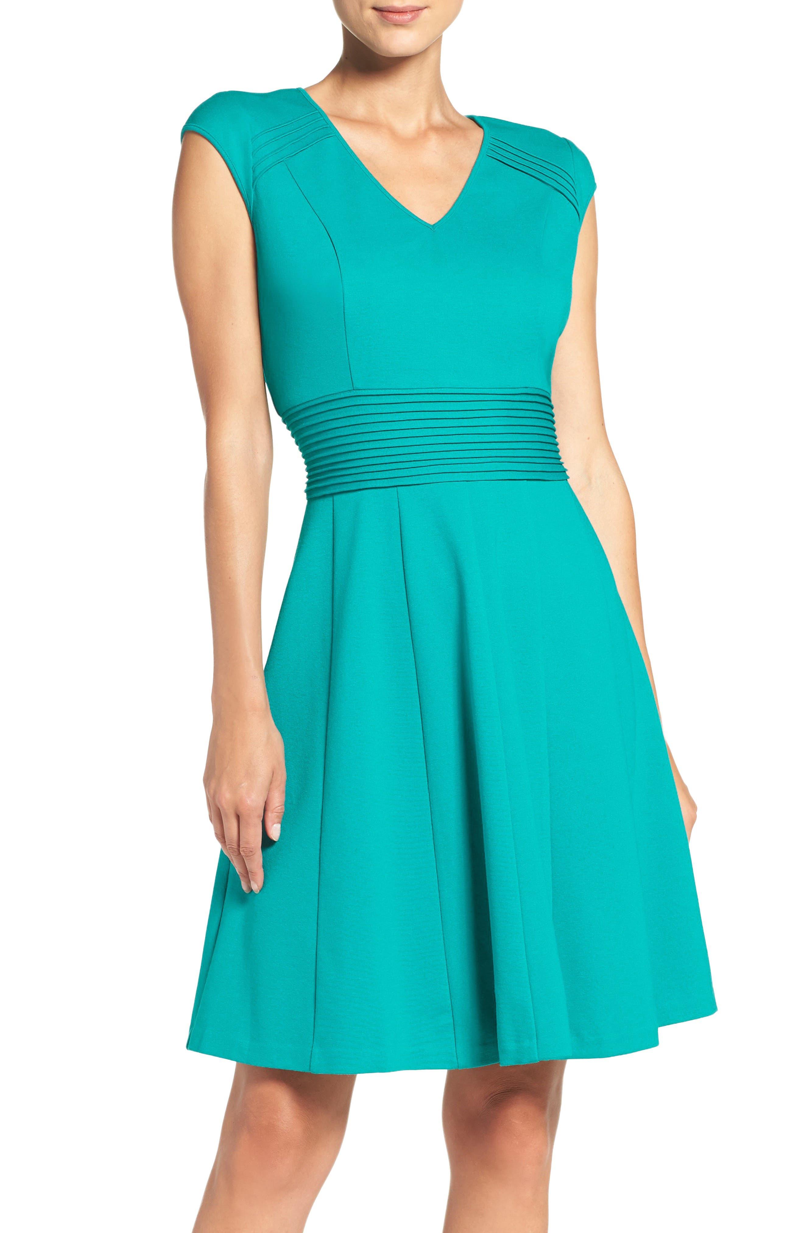 Ponte Fit & Flare Dress,                         Main,                         color, Teal