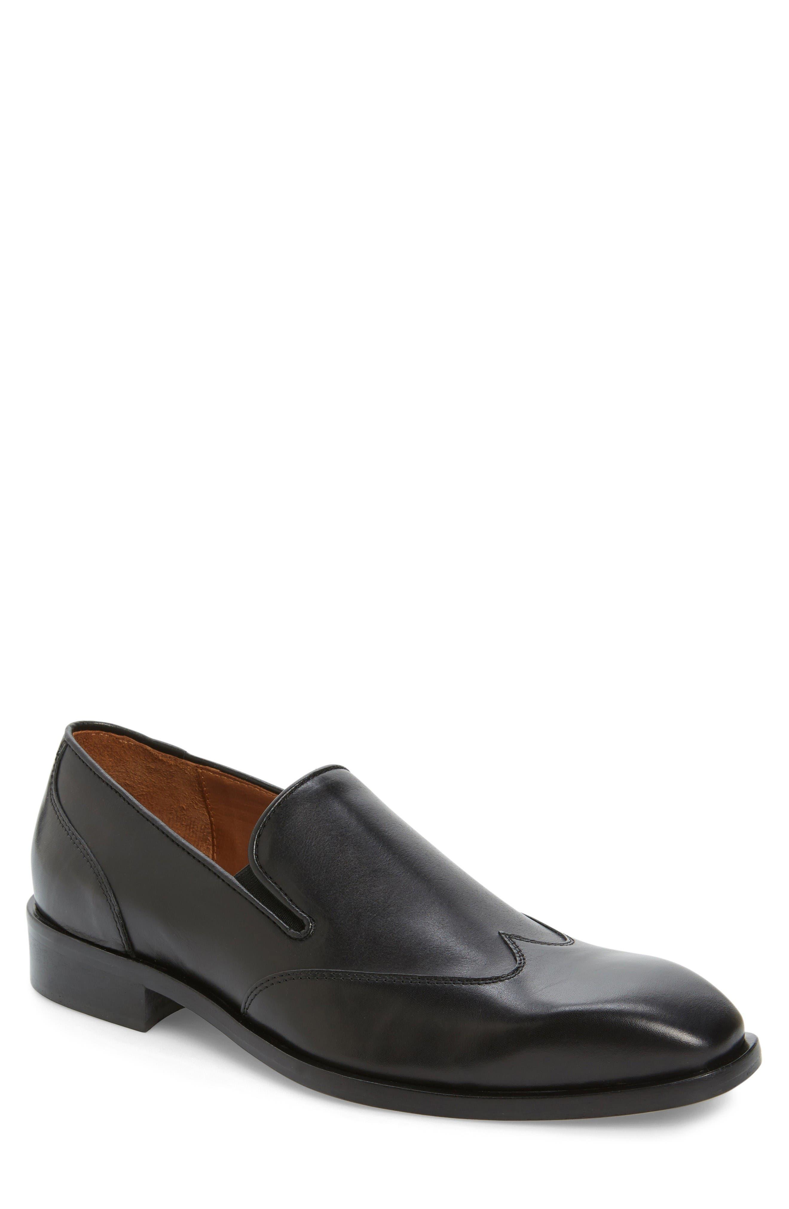 Valente Venetian Loafer,                         Main,                         color, Black Leather