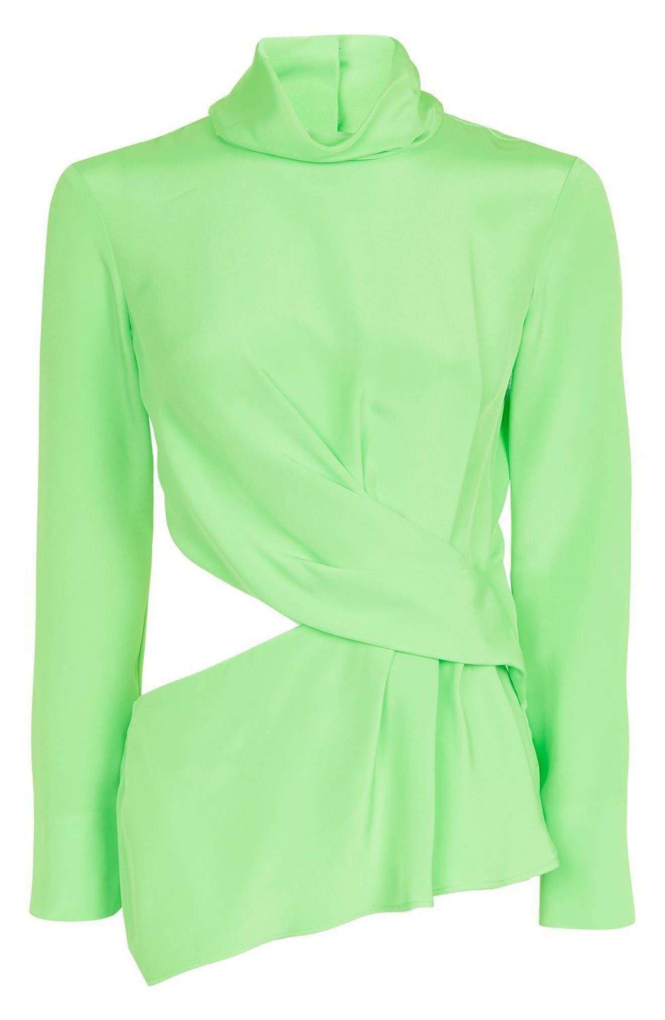 Twist Cutout Silk Top,                             Alternate thumbnail 4, color,                             Bright Green