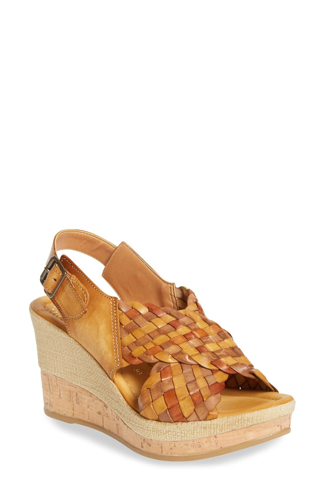 Love Wedge Sandal,                         Main,                         color, Earth Leather