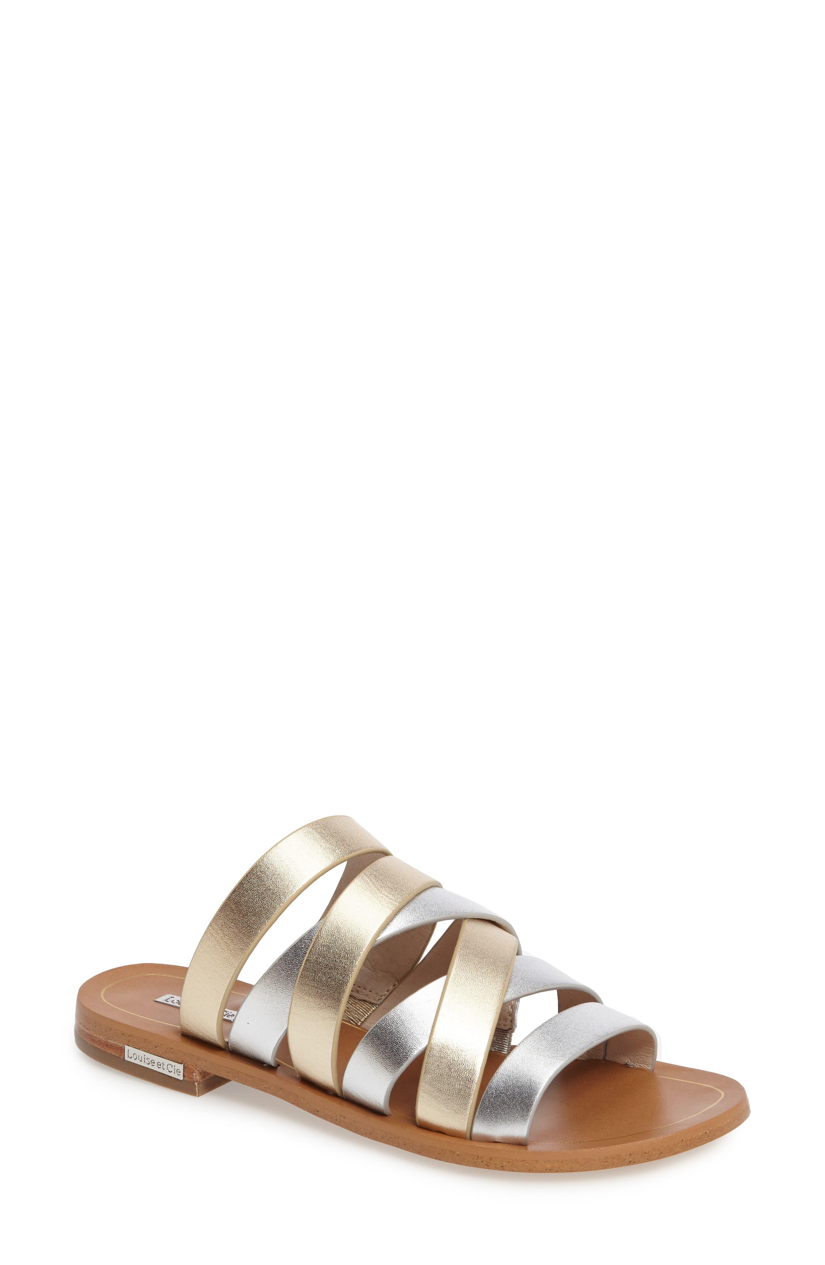 Braelynn Slide Sandal,                             Main thumbnail 1, color,                             Sterling Leather