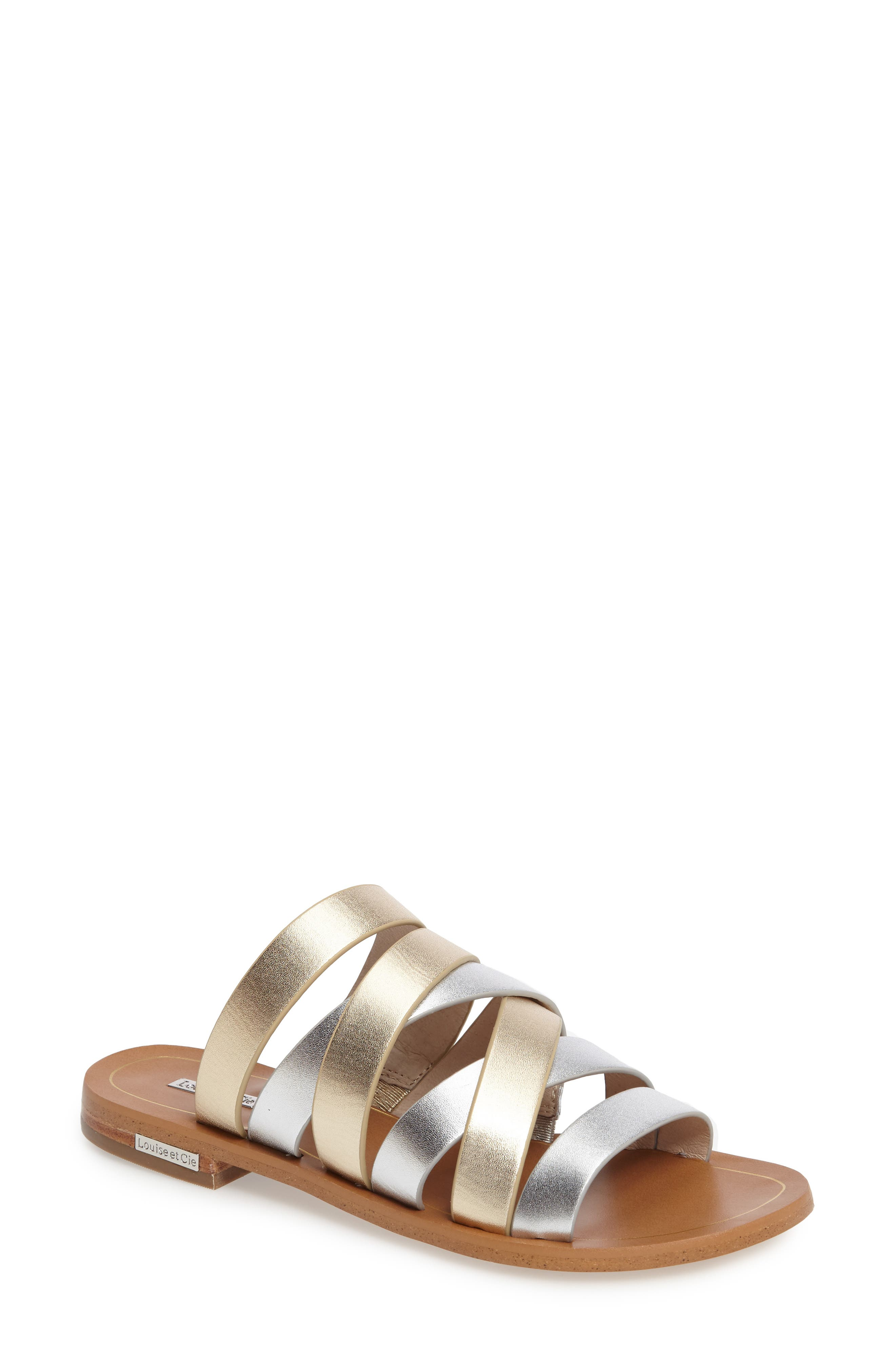 Braelynn Slide Sandal,                         Main,                         color, Sterling Leather