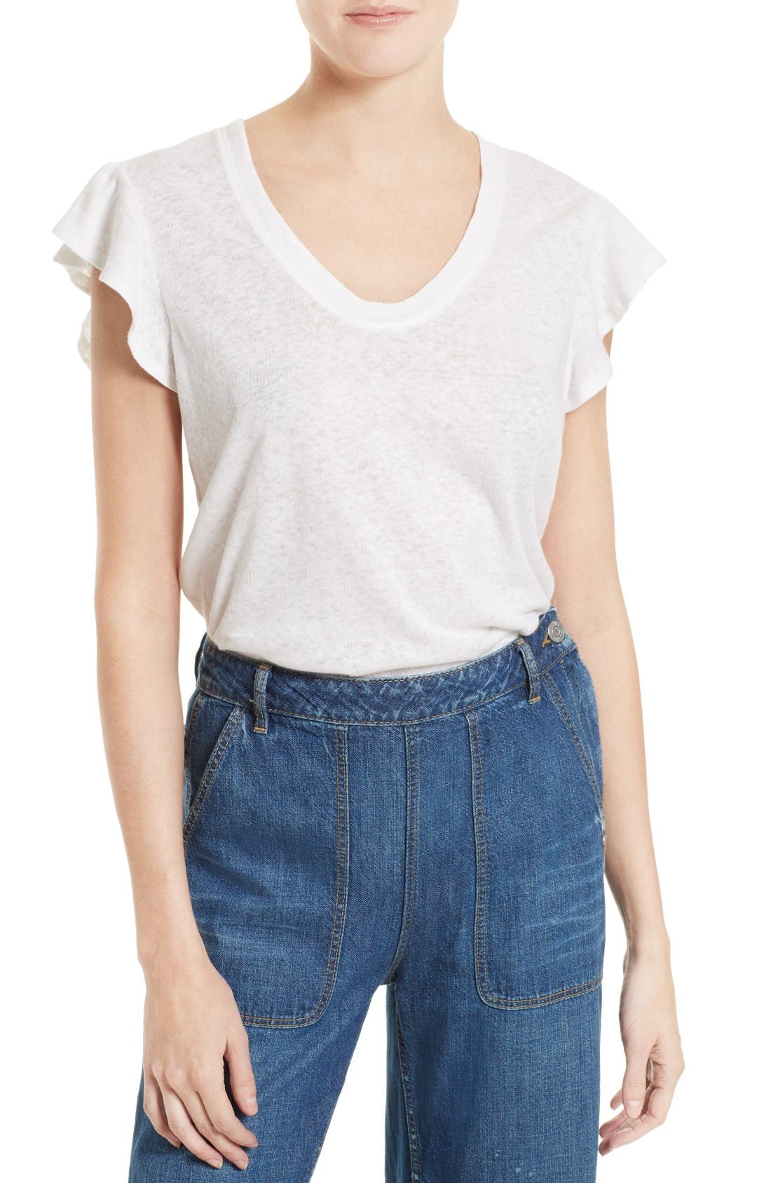Main Image - La Vie Rebecca Taylor Washed Texture Jersey Tee