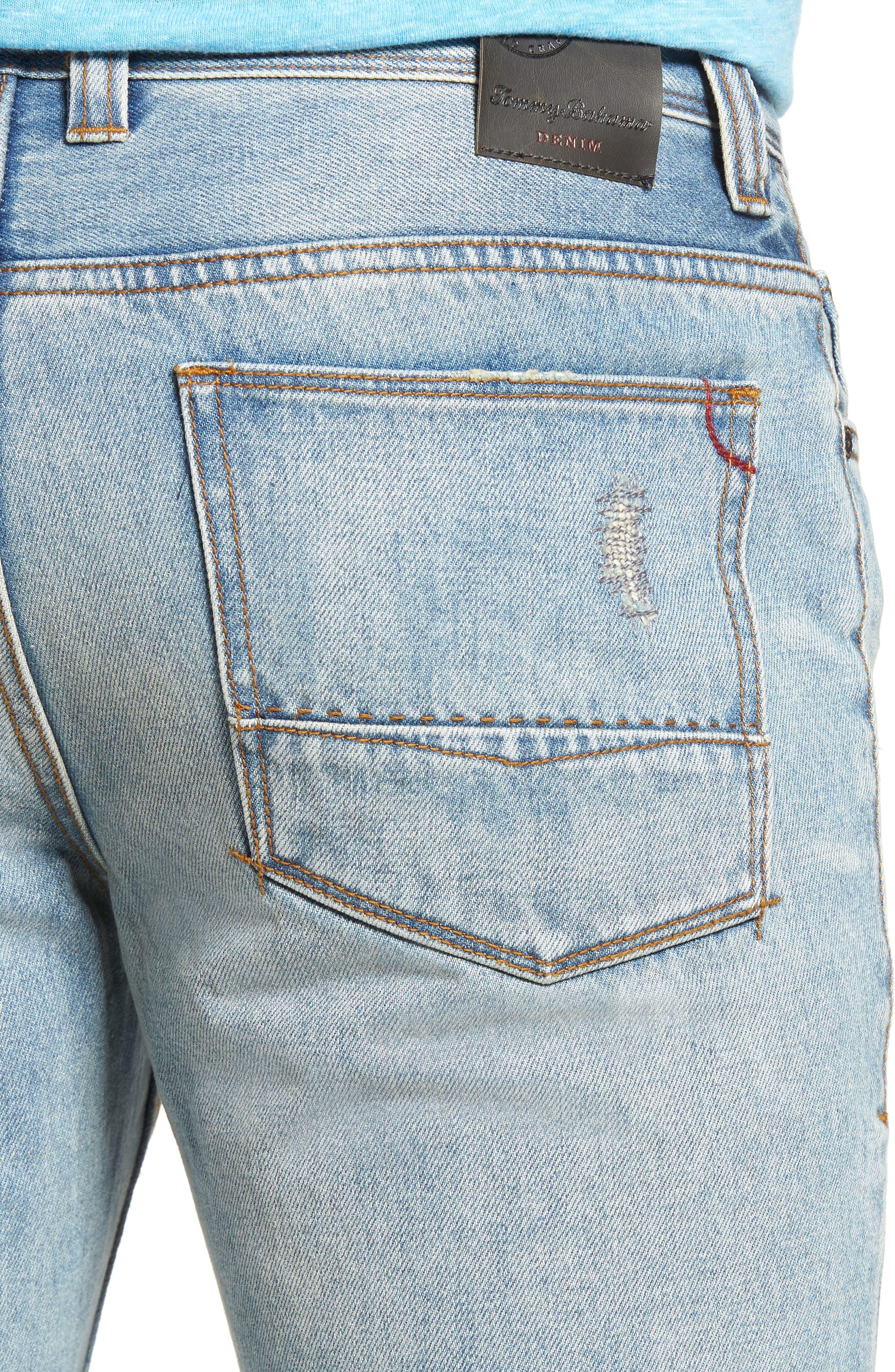 Castaway Slim Fit Jeans,                             Alternate thumbnail 4, color,                             Bleached Vintage Wash