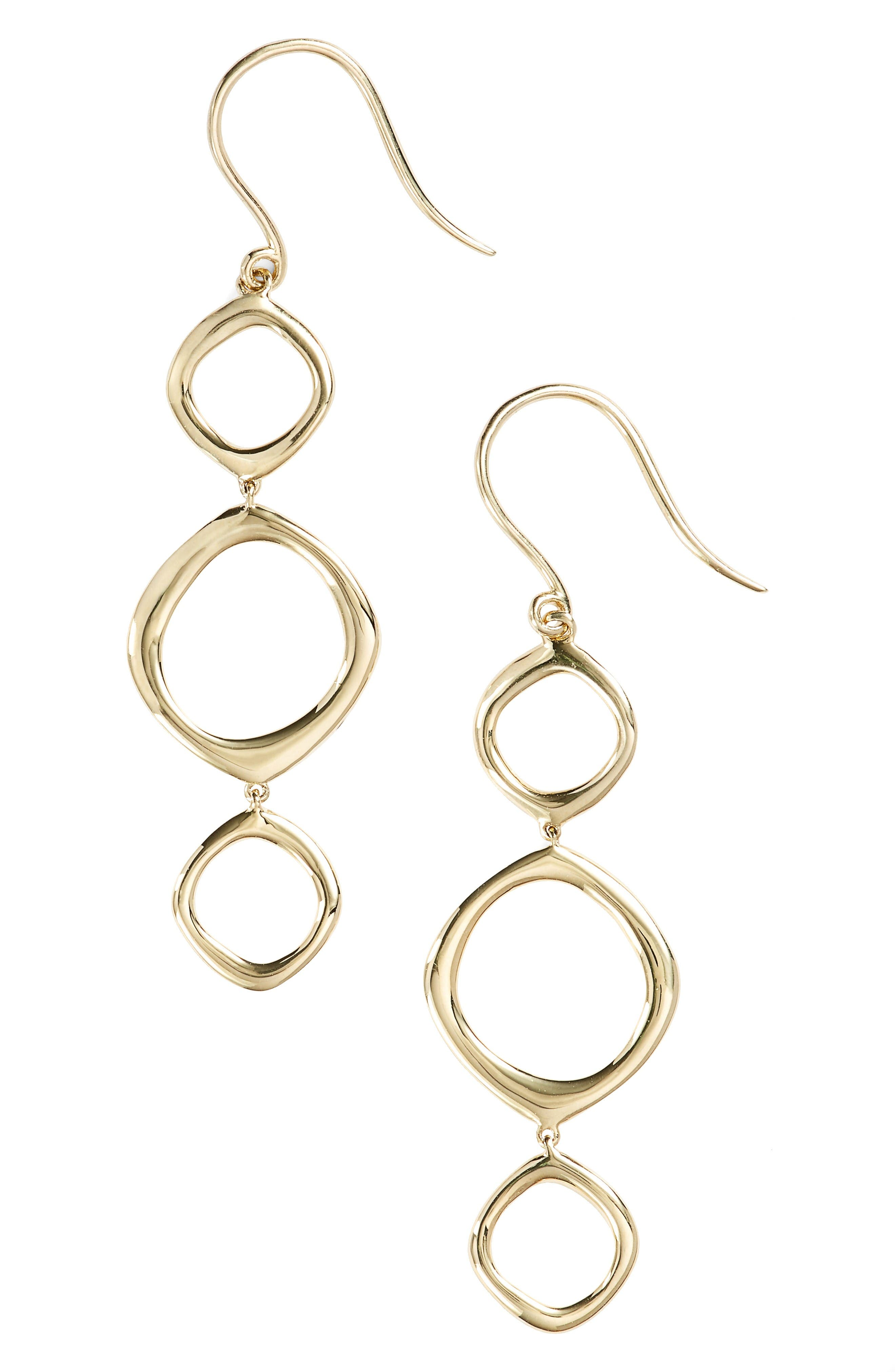 Geo Circle Linear Drop Earrings,                         Main,                         color, Yellow Gold