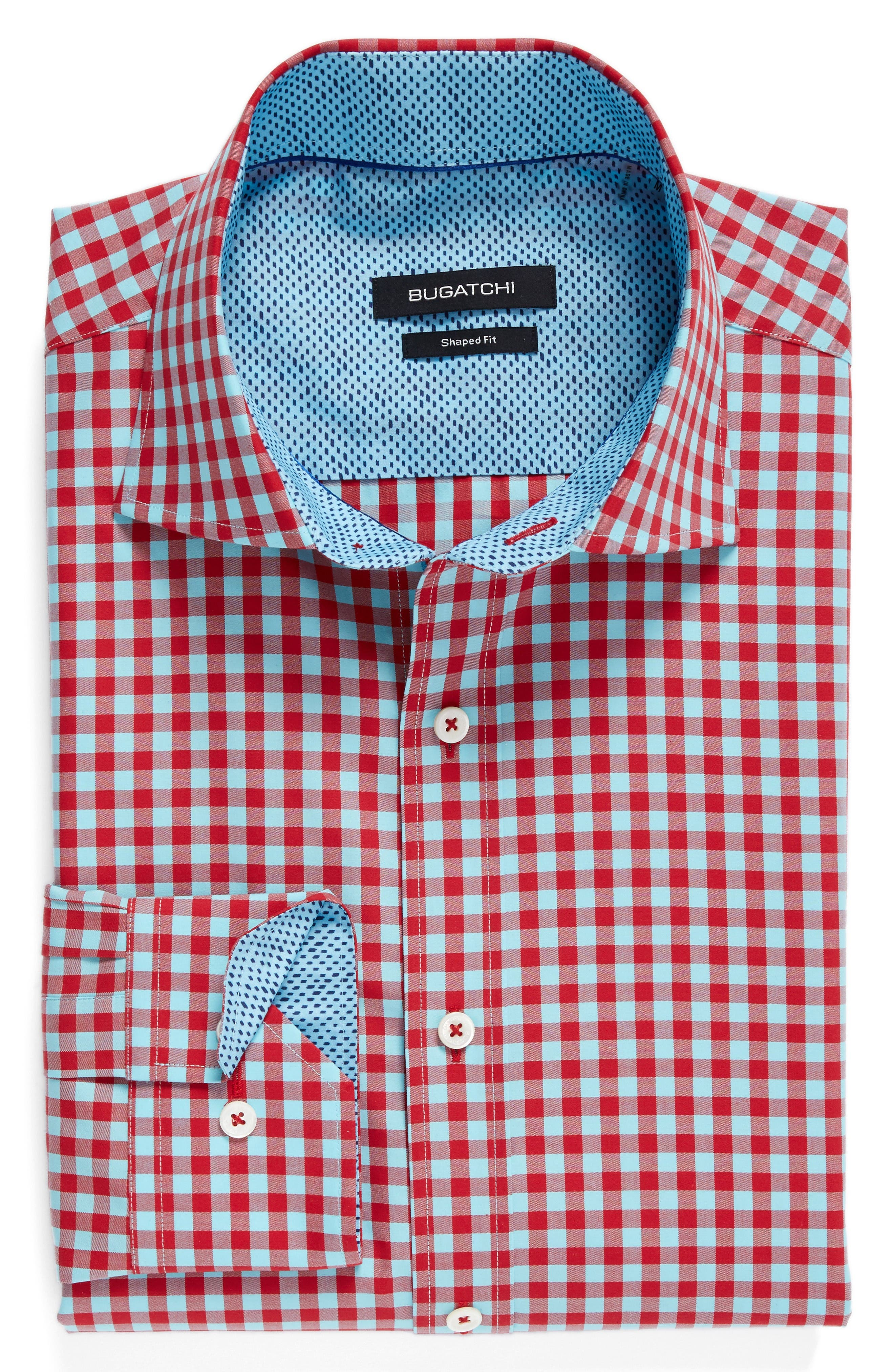 Shaped Fit Gingham Sport Shirt,                             Alternate thumbnail 6, color,                             Ruby