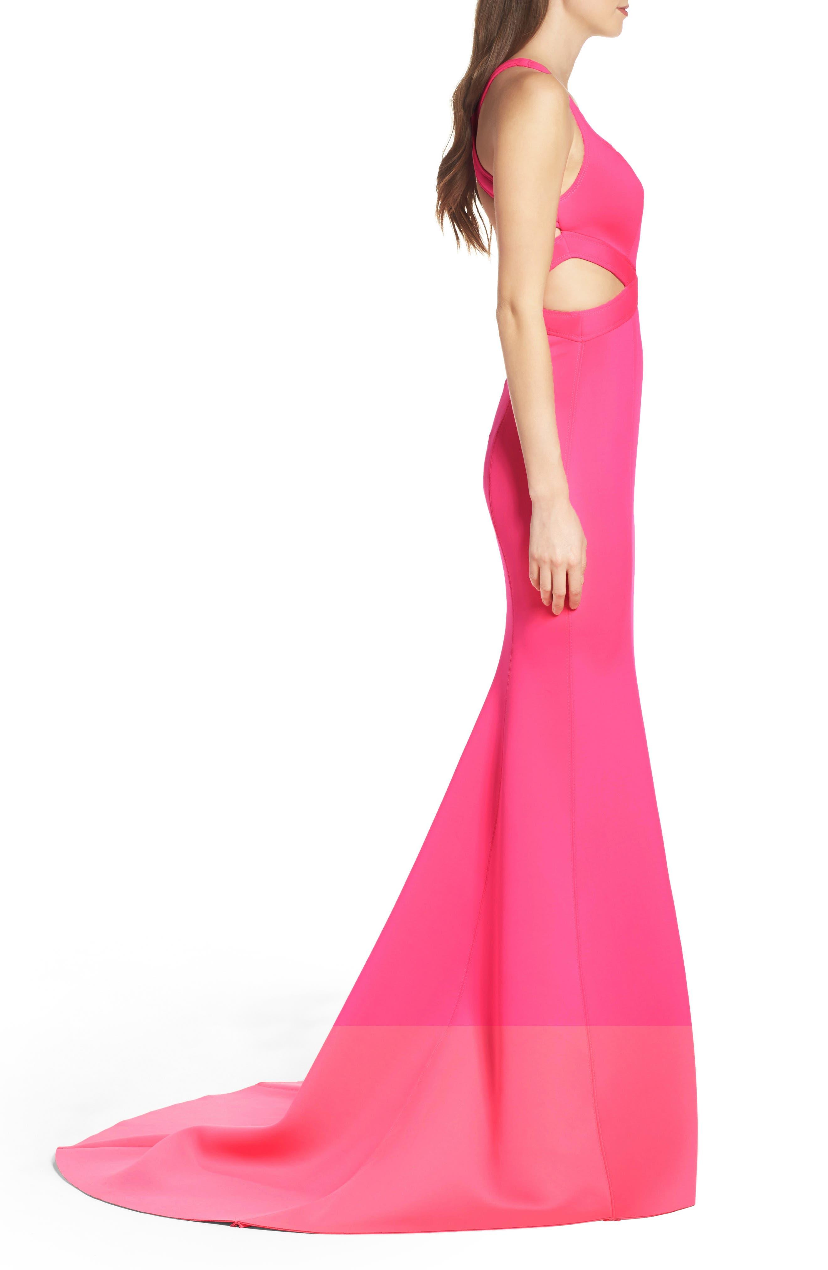 Alternate Image 3  - La Femme Neoprene Mermaid Gown