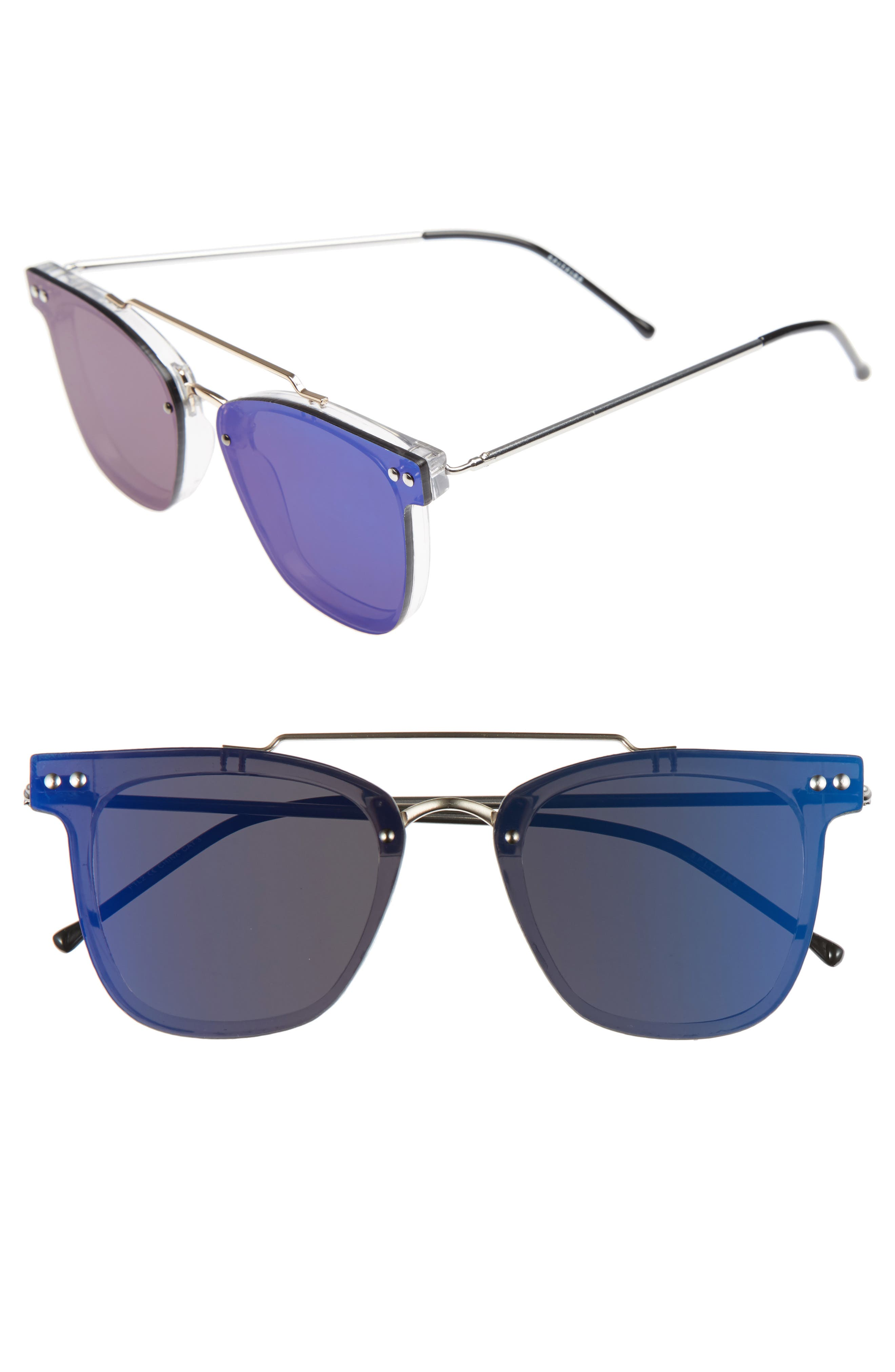 FTL 2 54mm Flat Frame Sunglasses,                             Main thumbnail 1, color,                             Clear/ Gold/ Blue Mirror