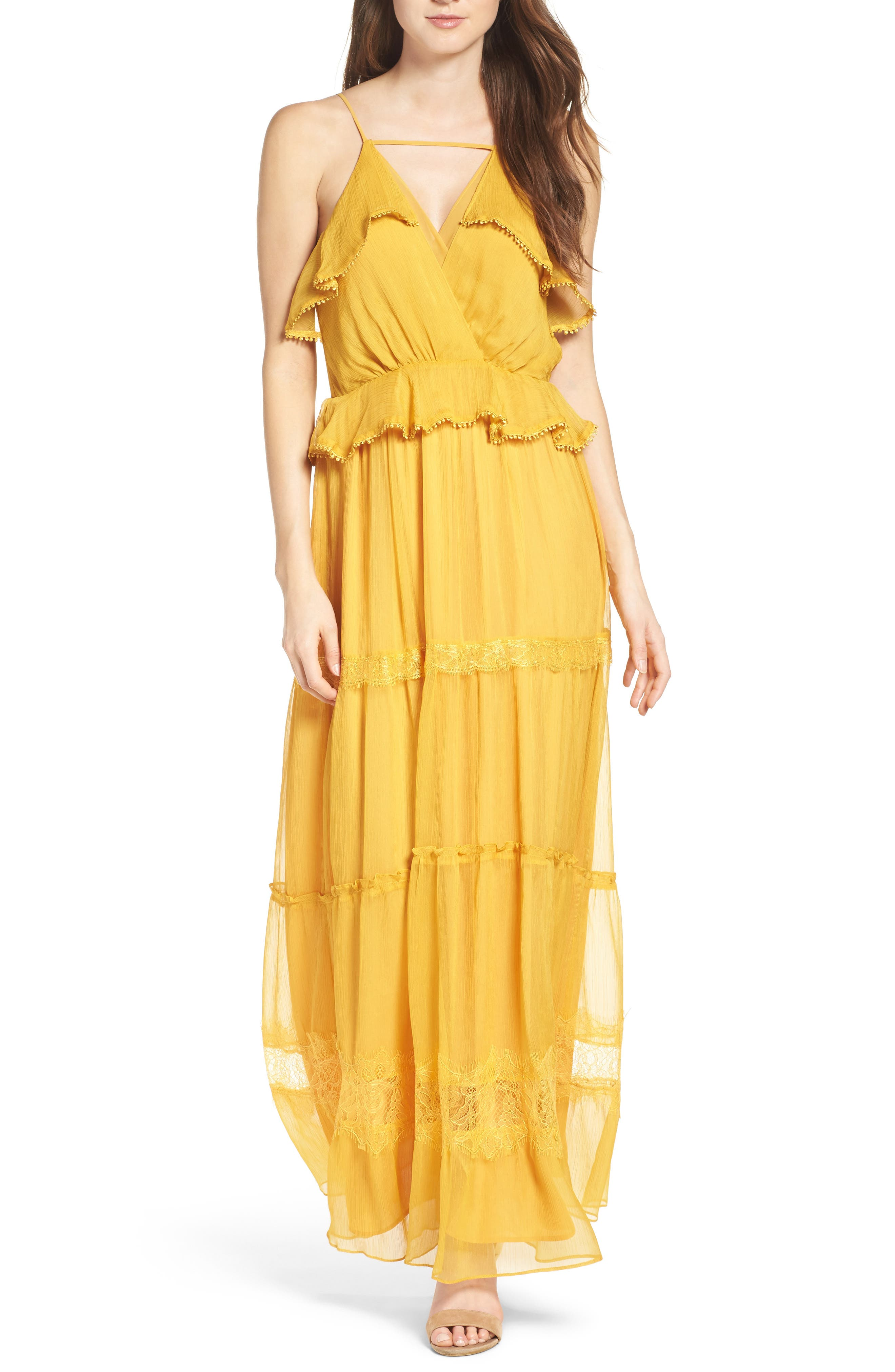 Tiered Chiffon Maxi Dress,                         Main,                         color, Golden Yellow