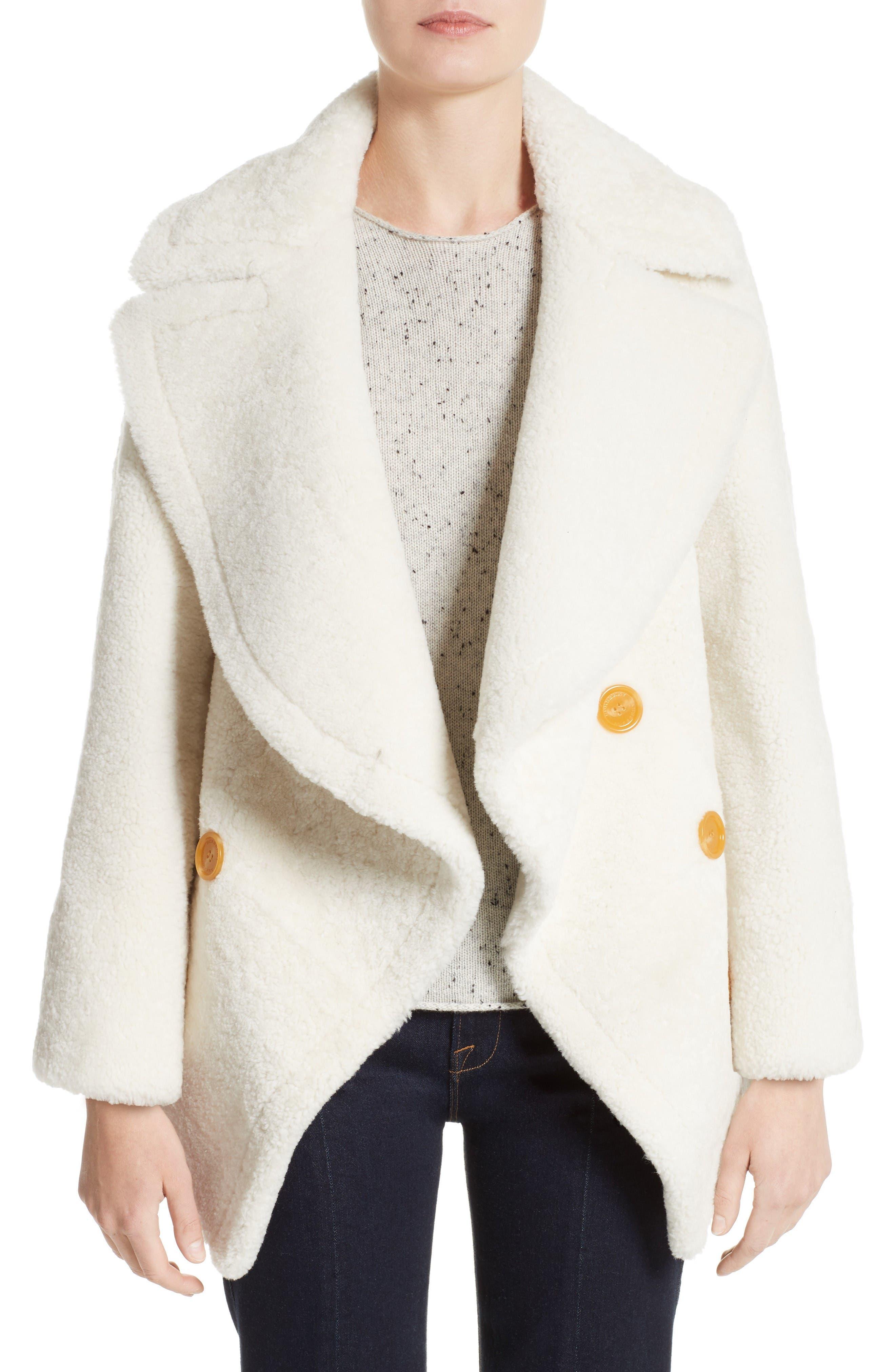 BURBERRY Teddy Genuine Shearling Pea Coat