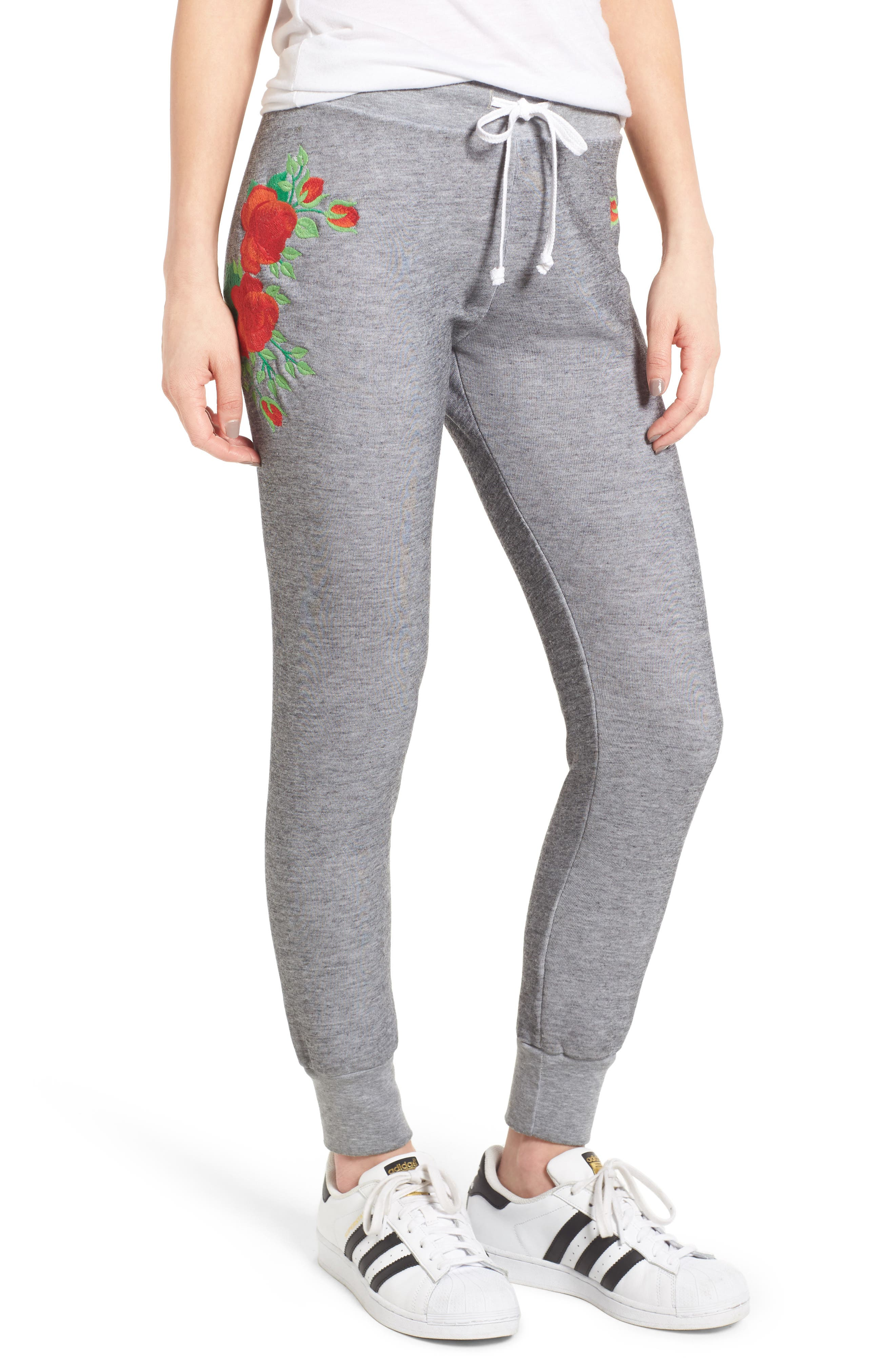 Alternate Image 1 Selected - Wildfox Jack - Red Roses Embroidered Jogger Pants
