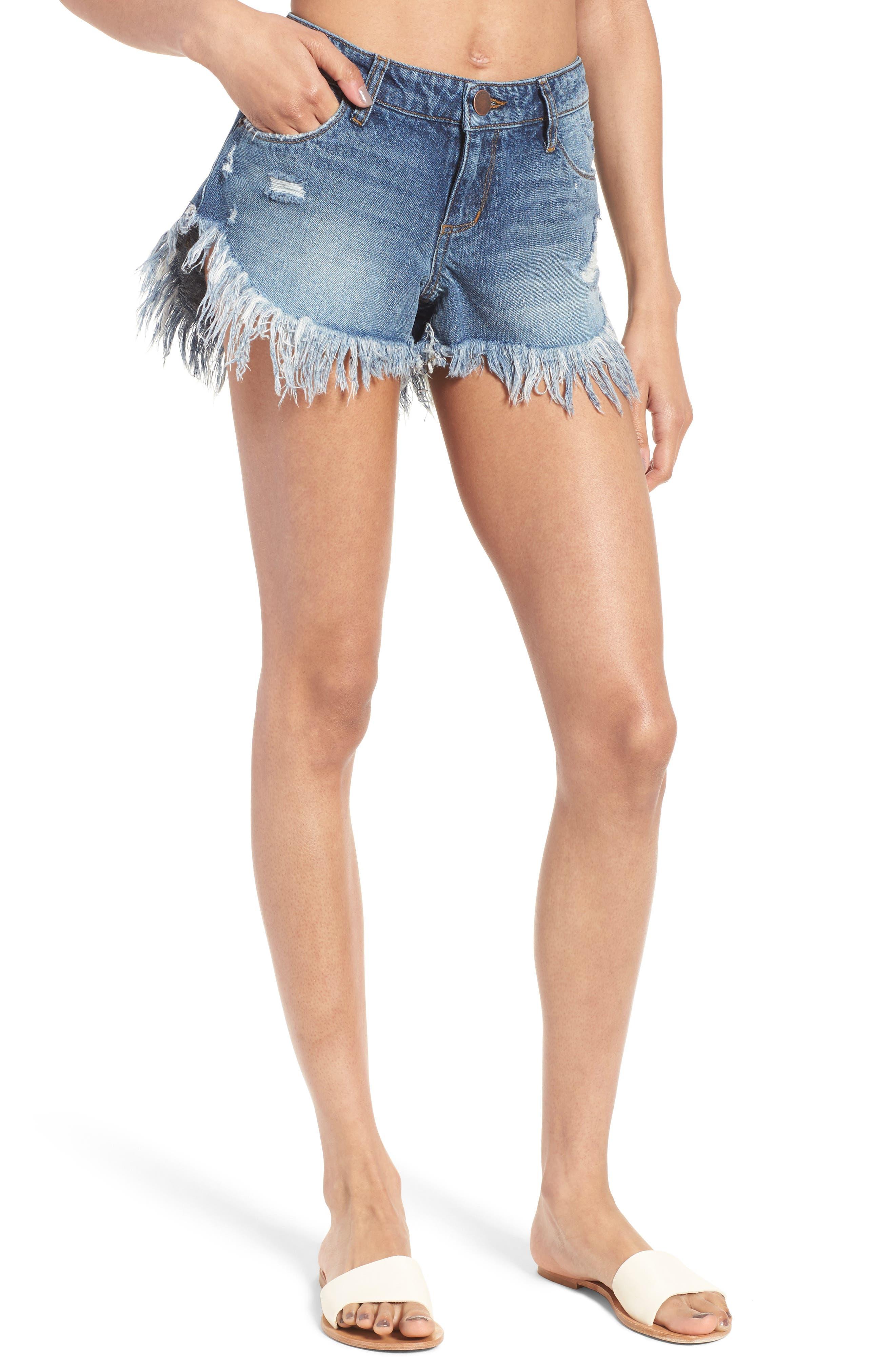 Cheeky Frayed Hem Denim Shorts,                         Main,                         color, Aliso Viejo