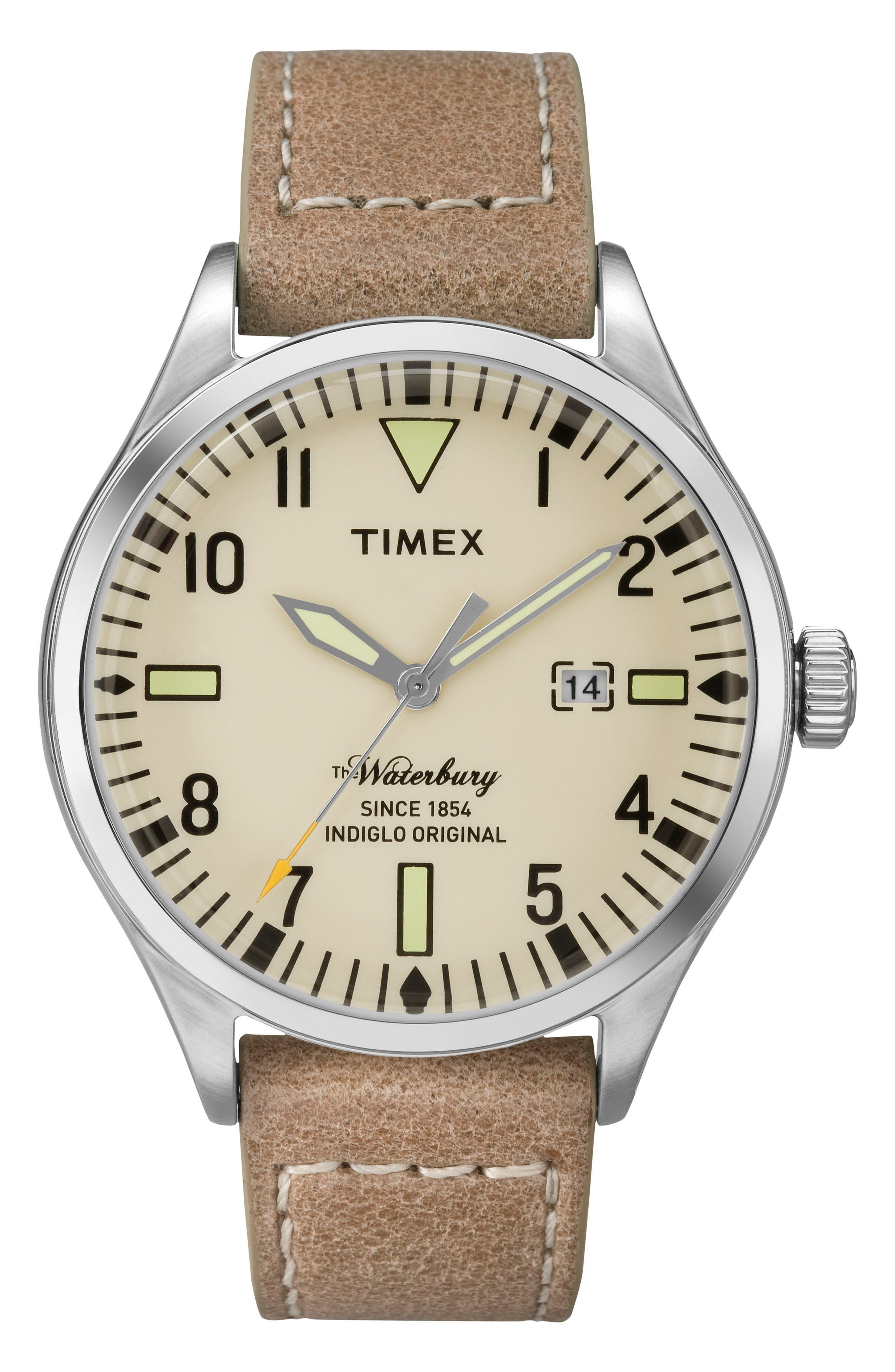 Waterbury Leather Strap Watch, 40mm,                         Main,                         color, Tan/ Beige/ Silver
