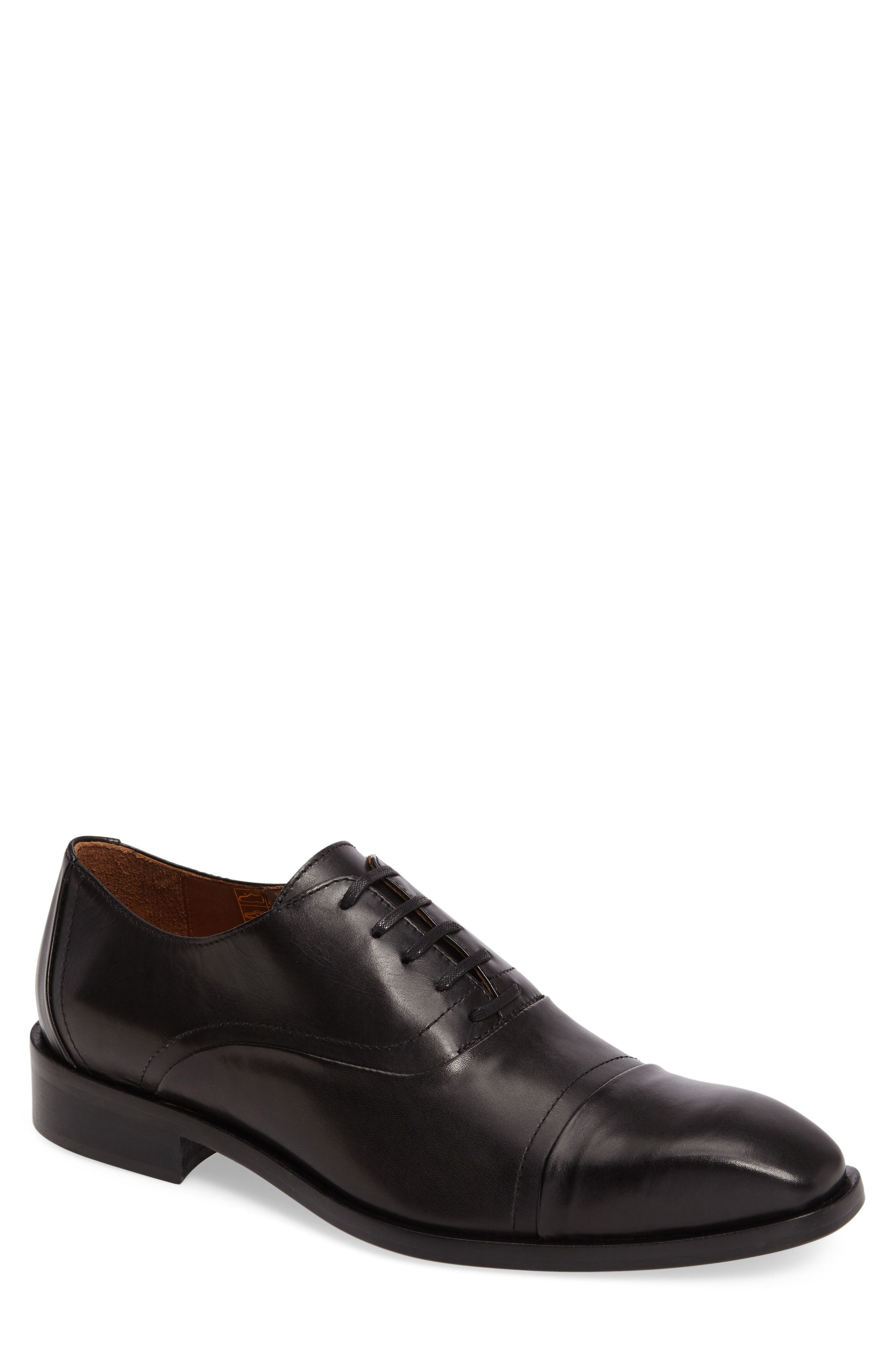 Valerico Cap Toe Oxford,                             Main thumbnail 1, color,                             Black Leather