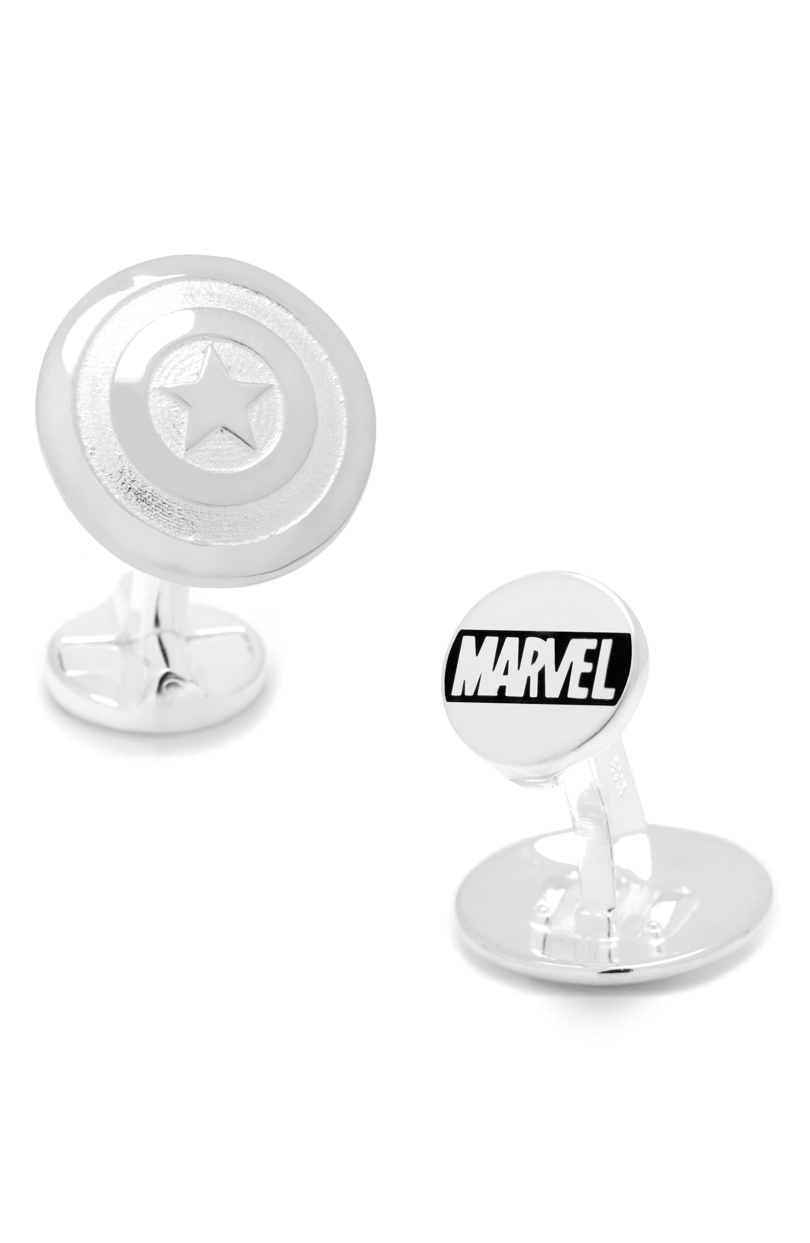 Captain America Cuff Links,                             Main thumbnail 1, color,                             Silver