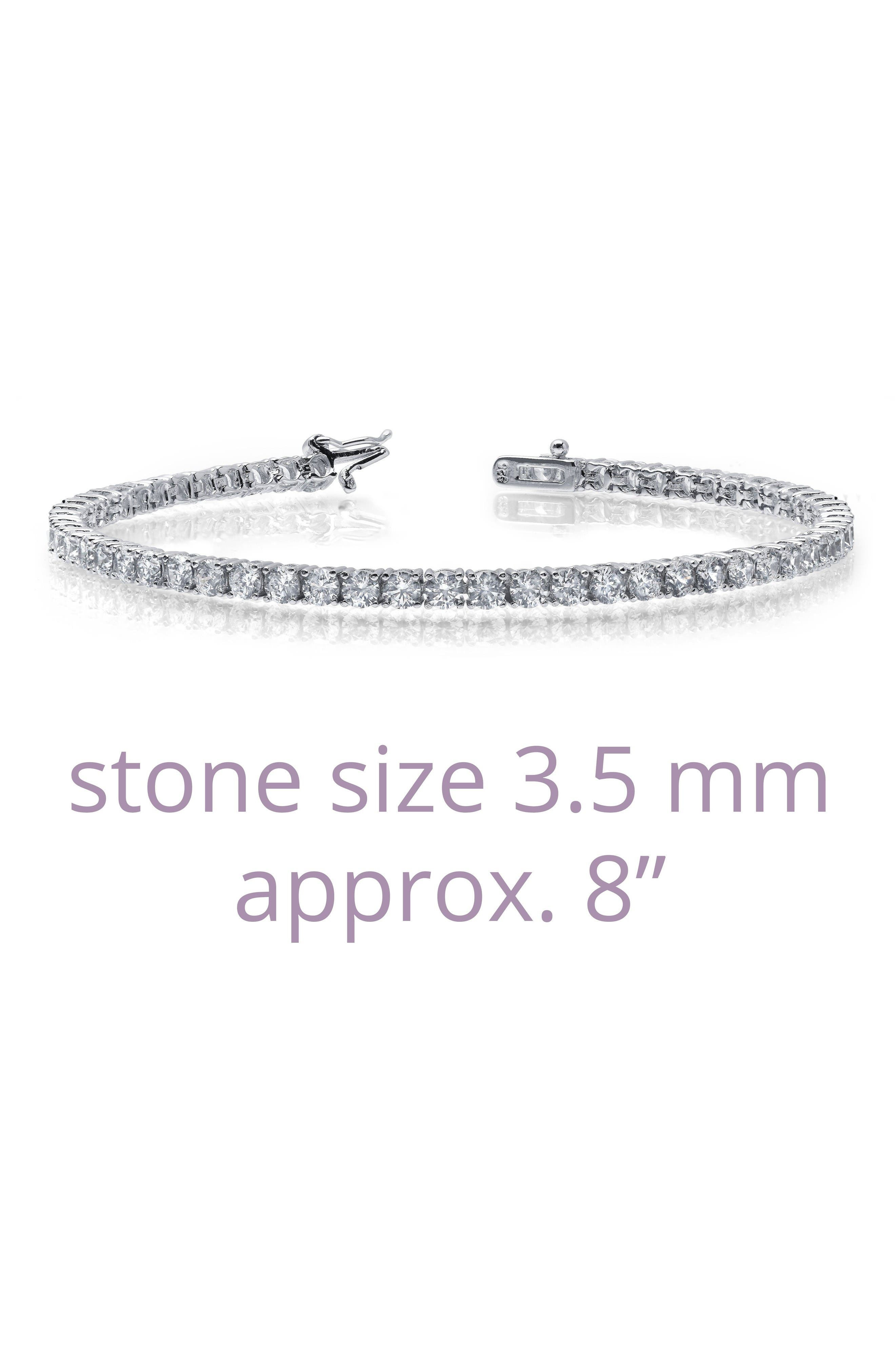 Classic Simulated Diamond Tennis Bracelet,                             Alternate thumbnail 4, color,                             Silver