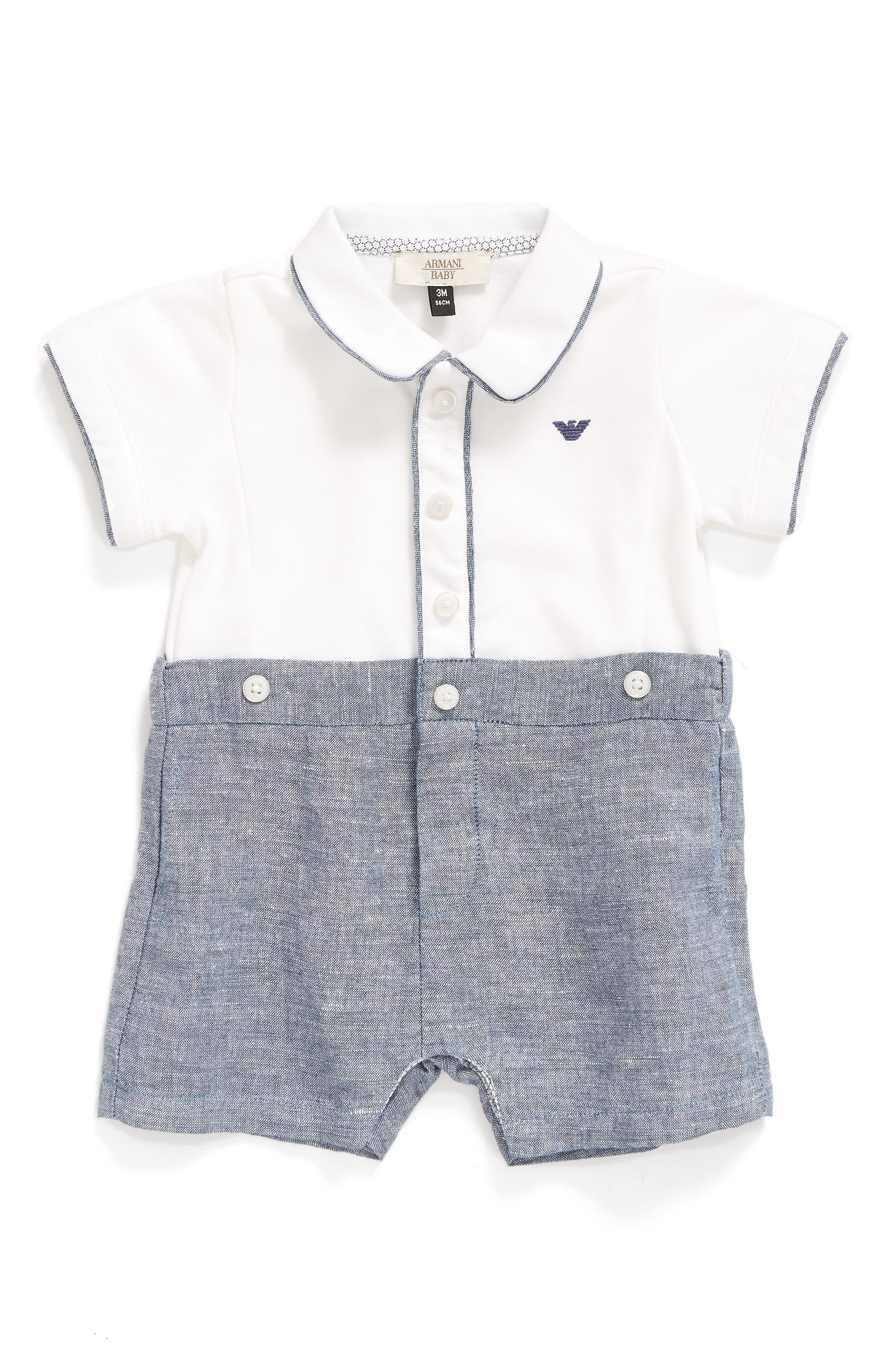 Armani Junior Shortie Bodysuit (Baby Boys)