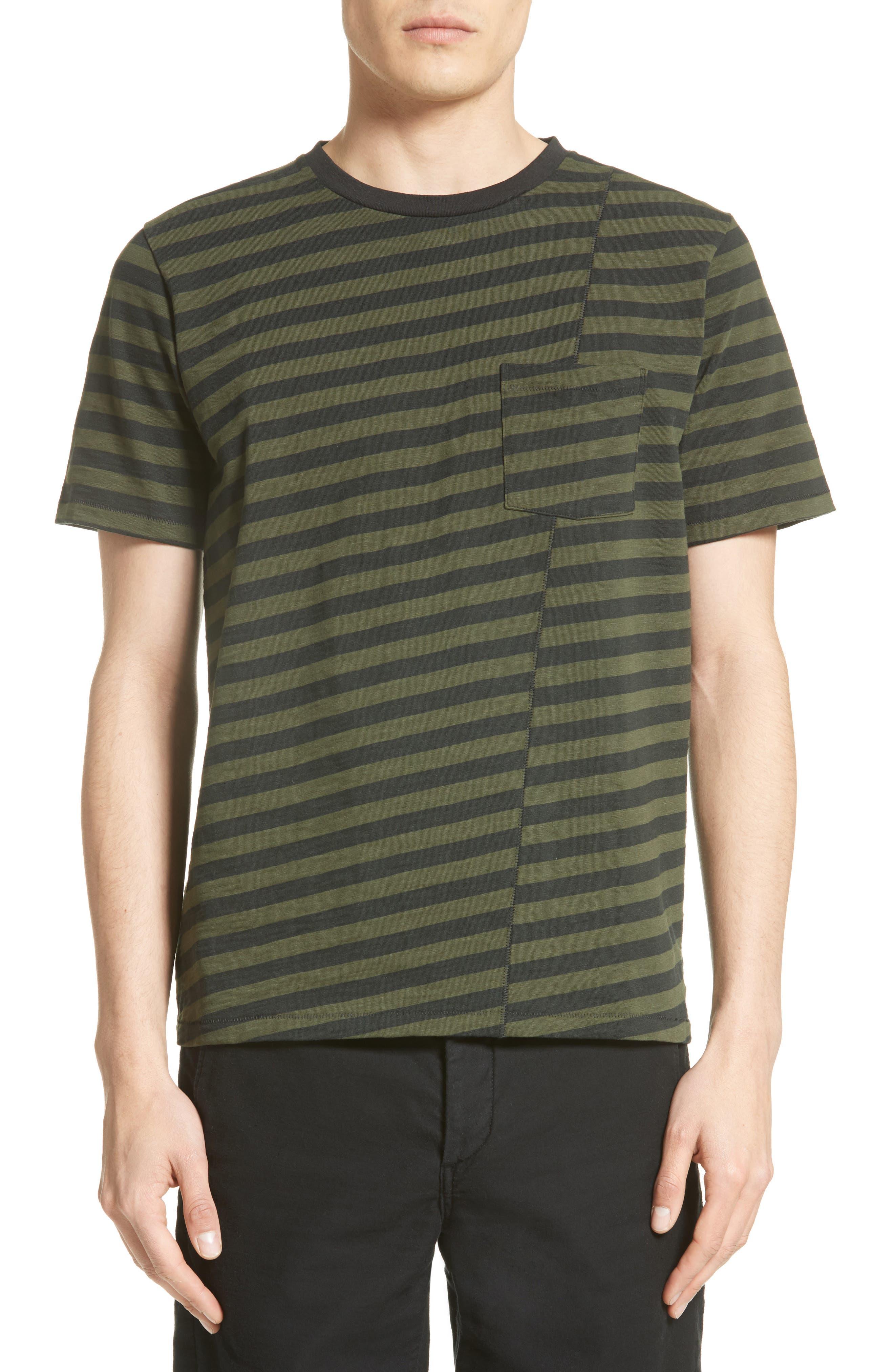 Blake Stripe T-Shirt,                             Main thumbnail 1, color,                             Dark Olive/ Black