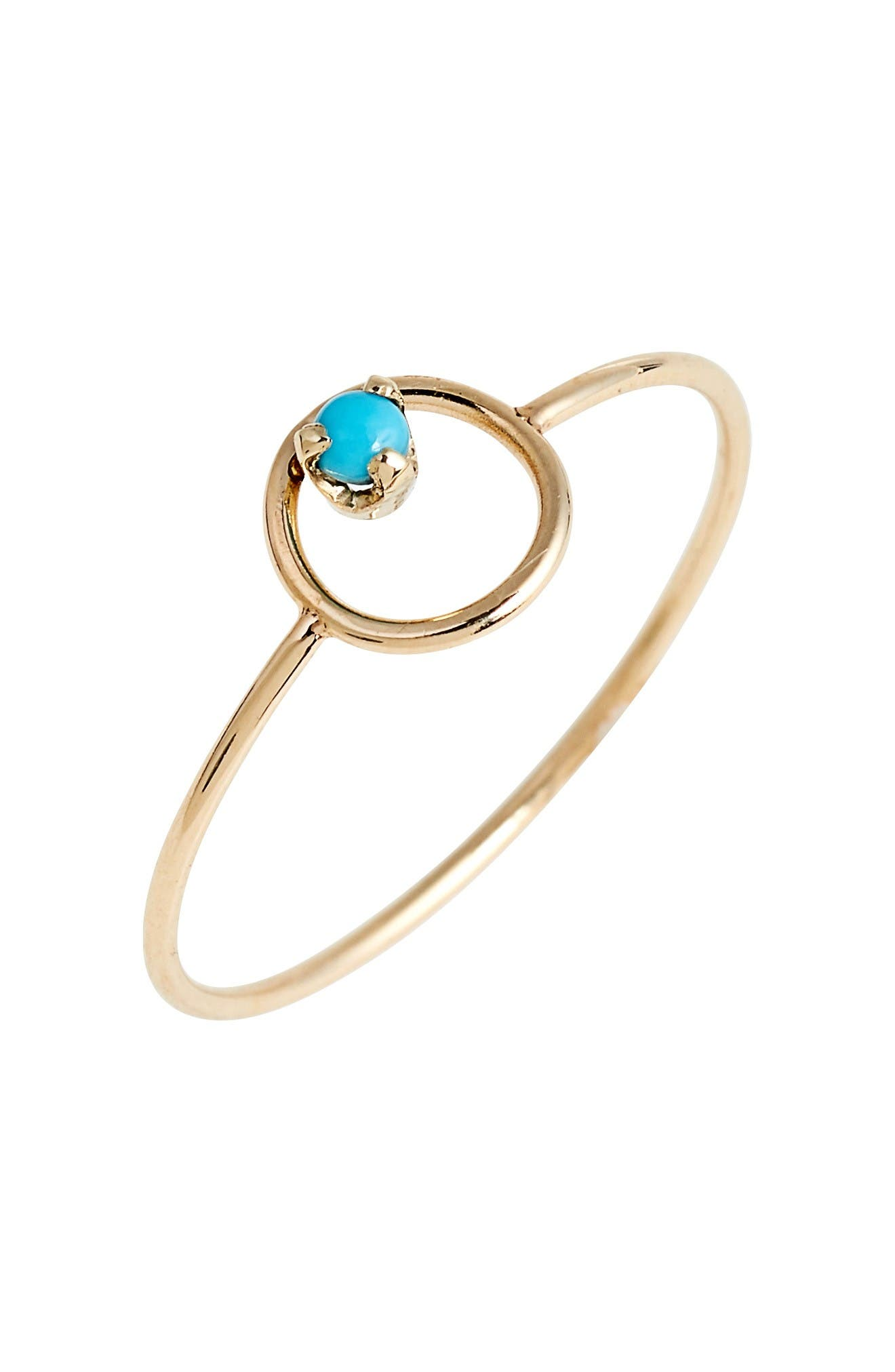 Turquoise Circle Ring,                             Main thumbnail 1, color,                             Yellow Gold/ Turquoise