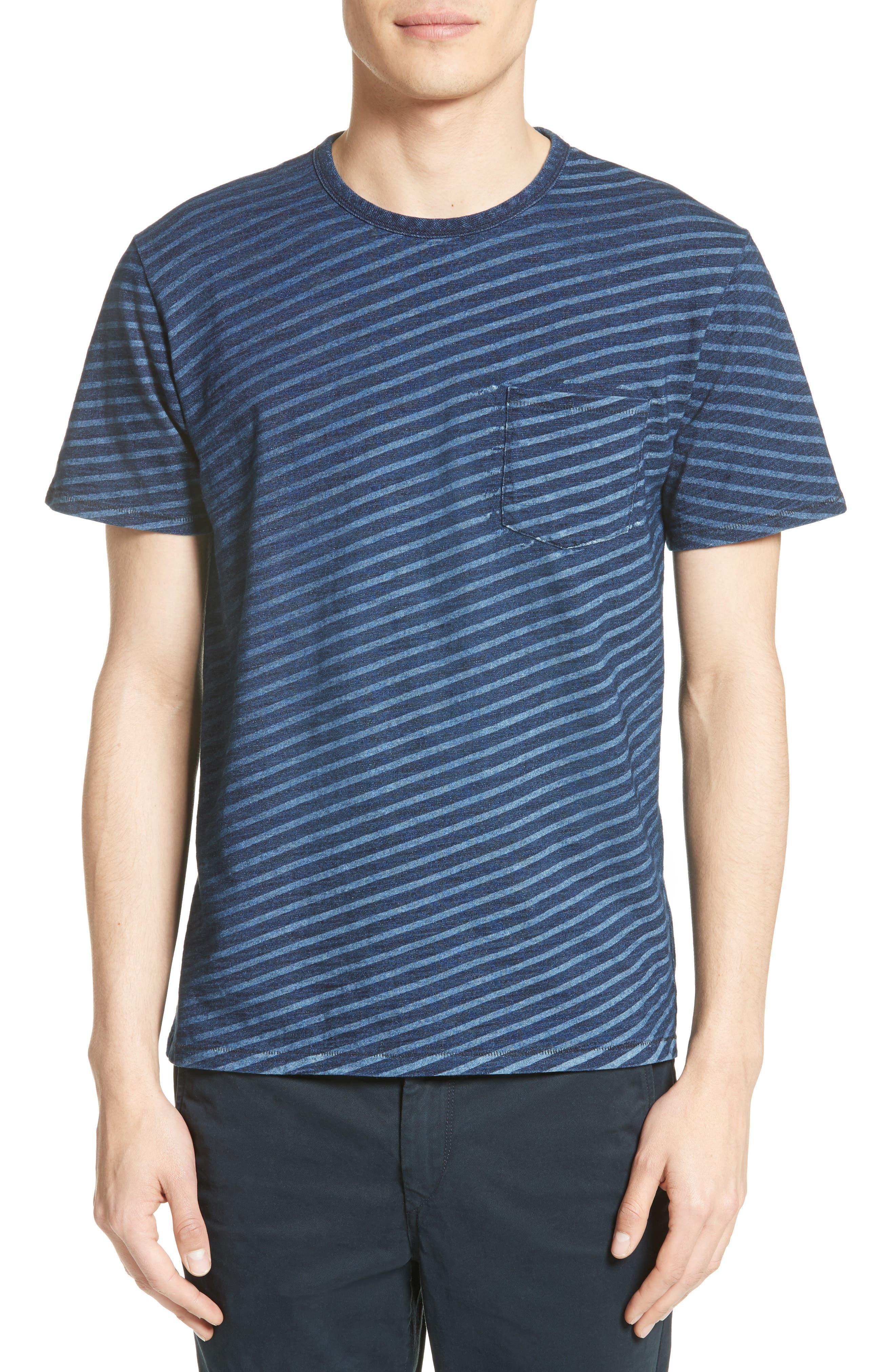 James Indigo Dyed Stripe T-Shirt,                         Main,                         color, Indigo Stripe