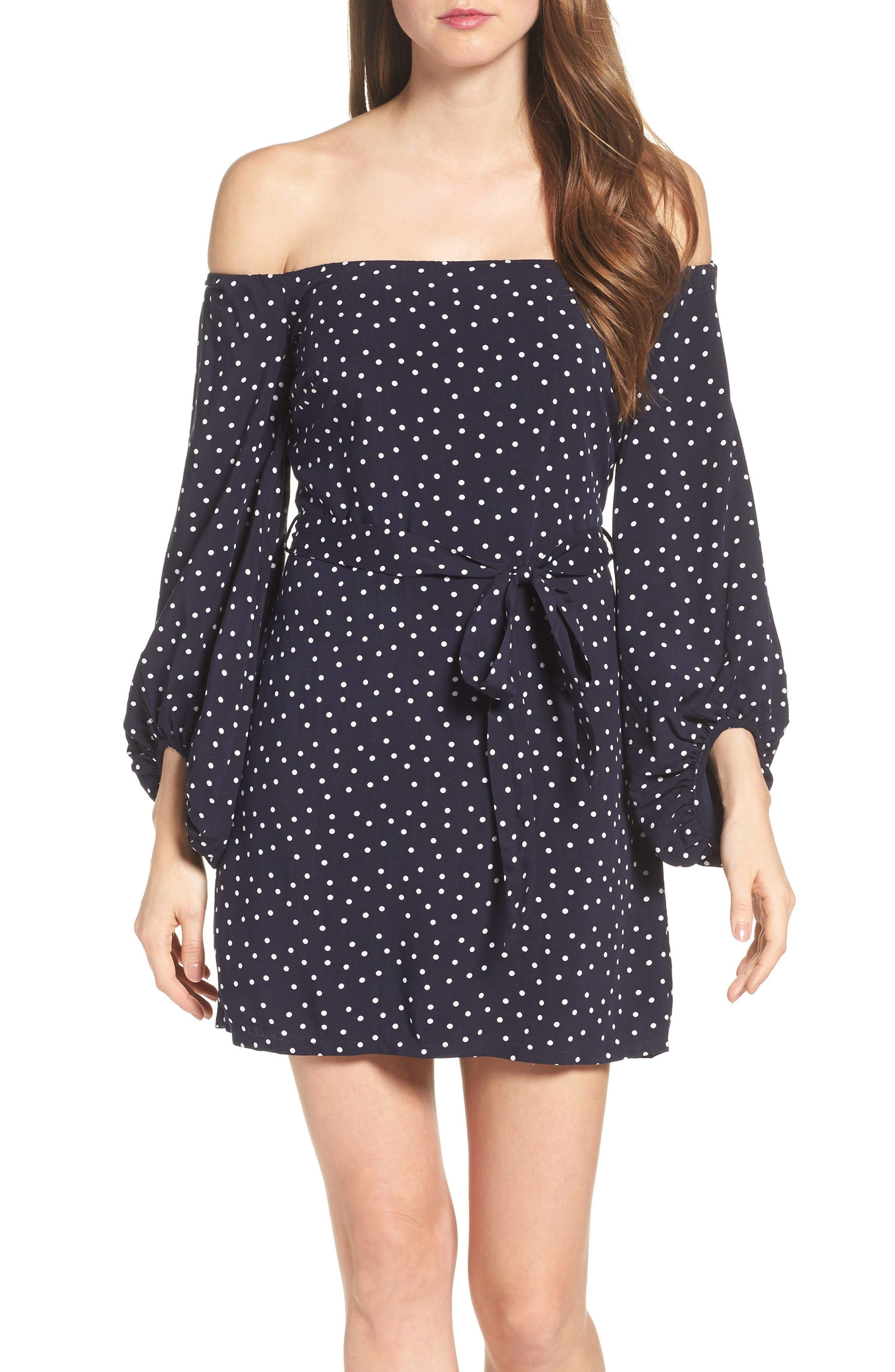 Main Image - Bardot Polka Dot Off the Shoulder Dress