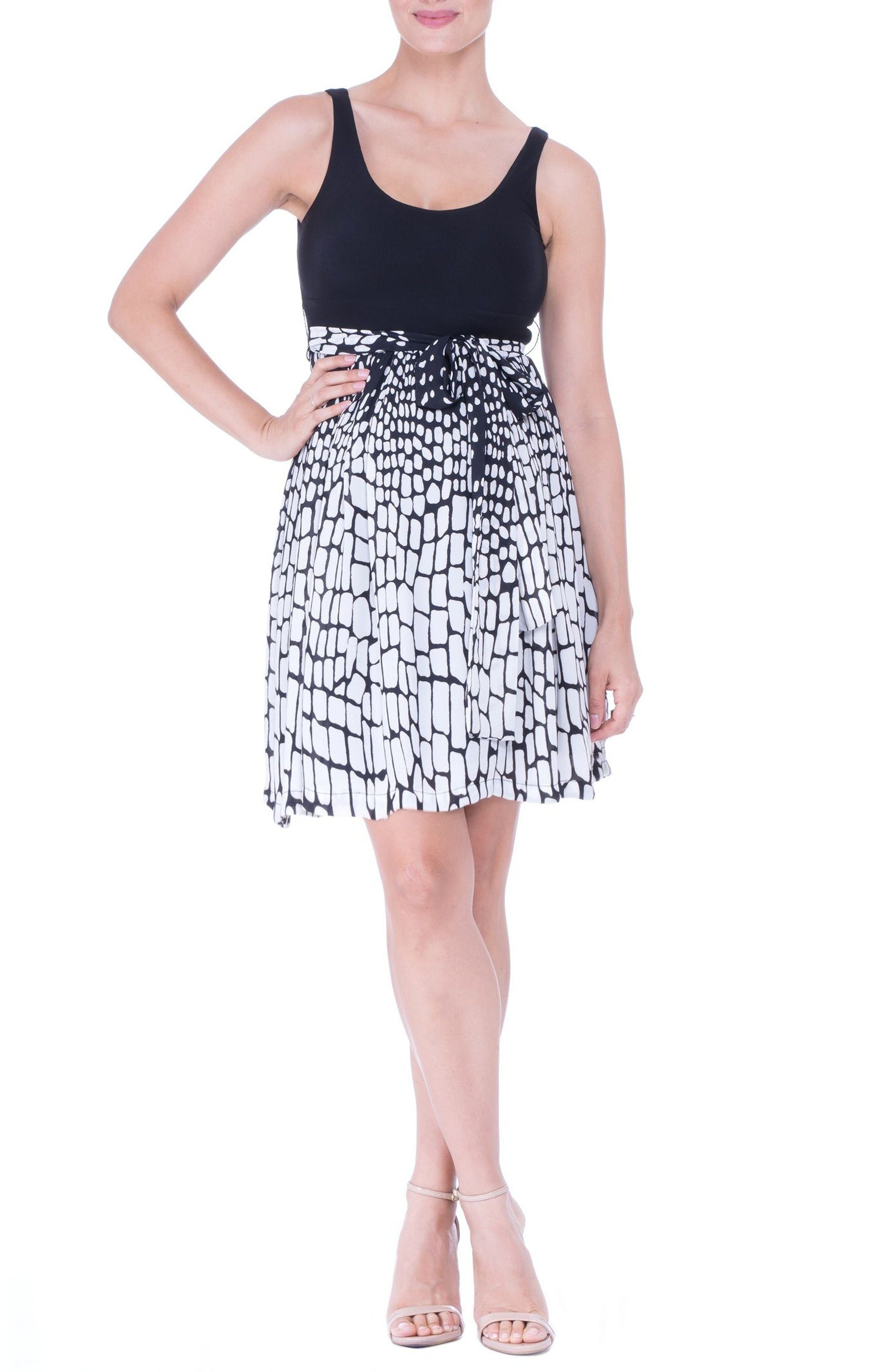 Print Maternity Dress,                         Main,                         color, Black/ White
