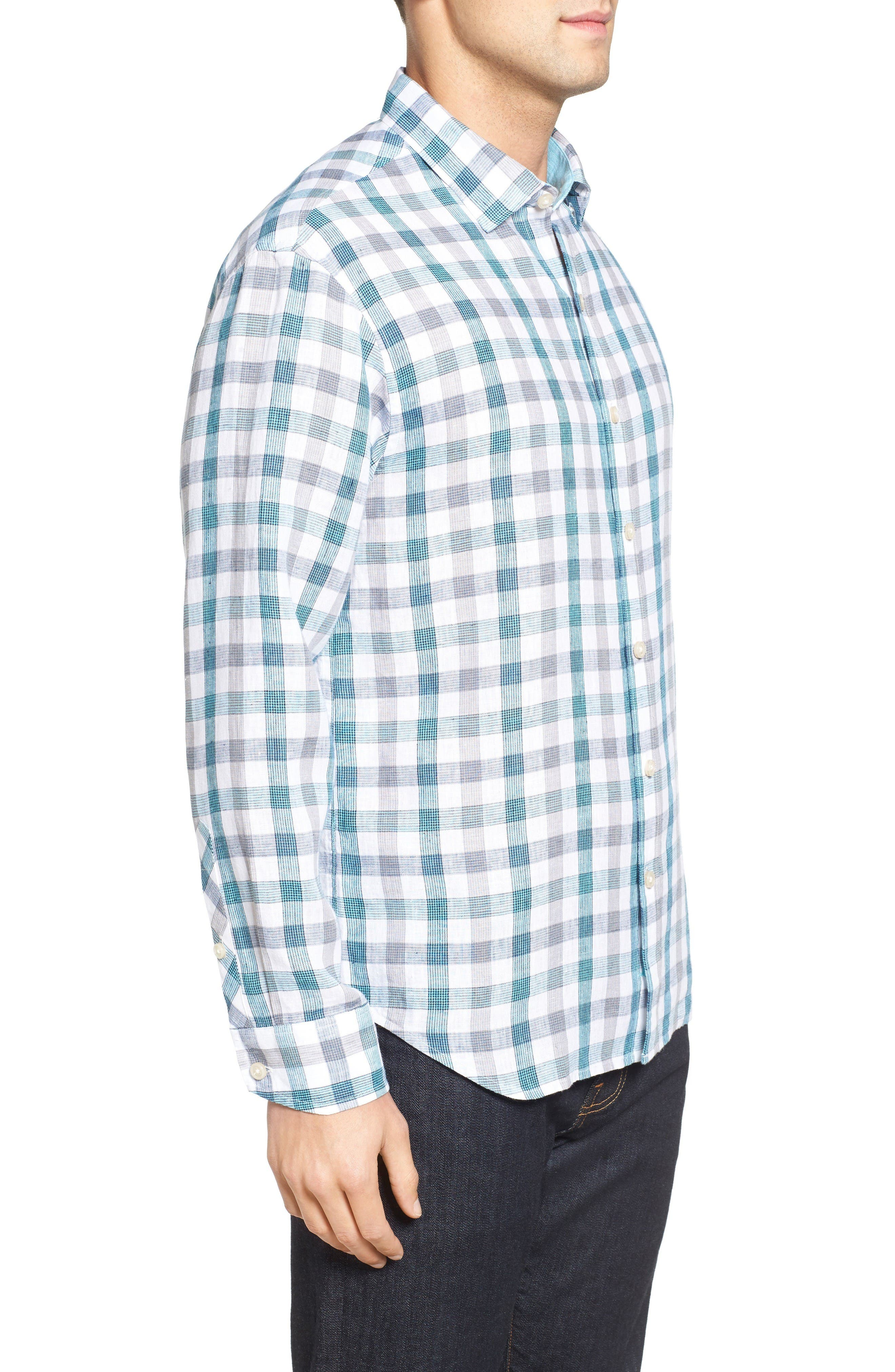 Thira Check Linen Sport Shirt,                             Alternate thumbnail 3, color,                             Download Blue